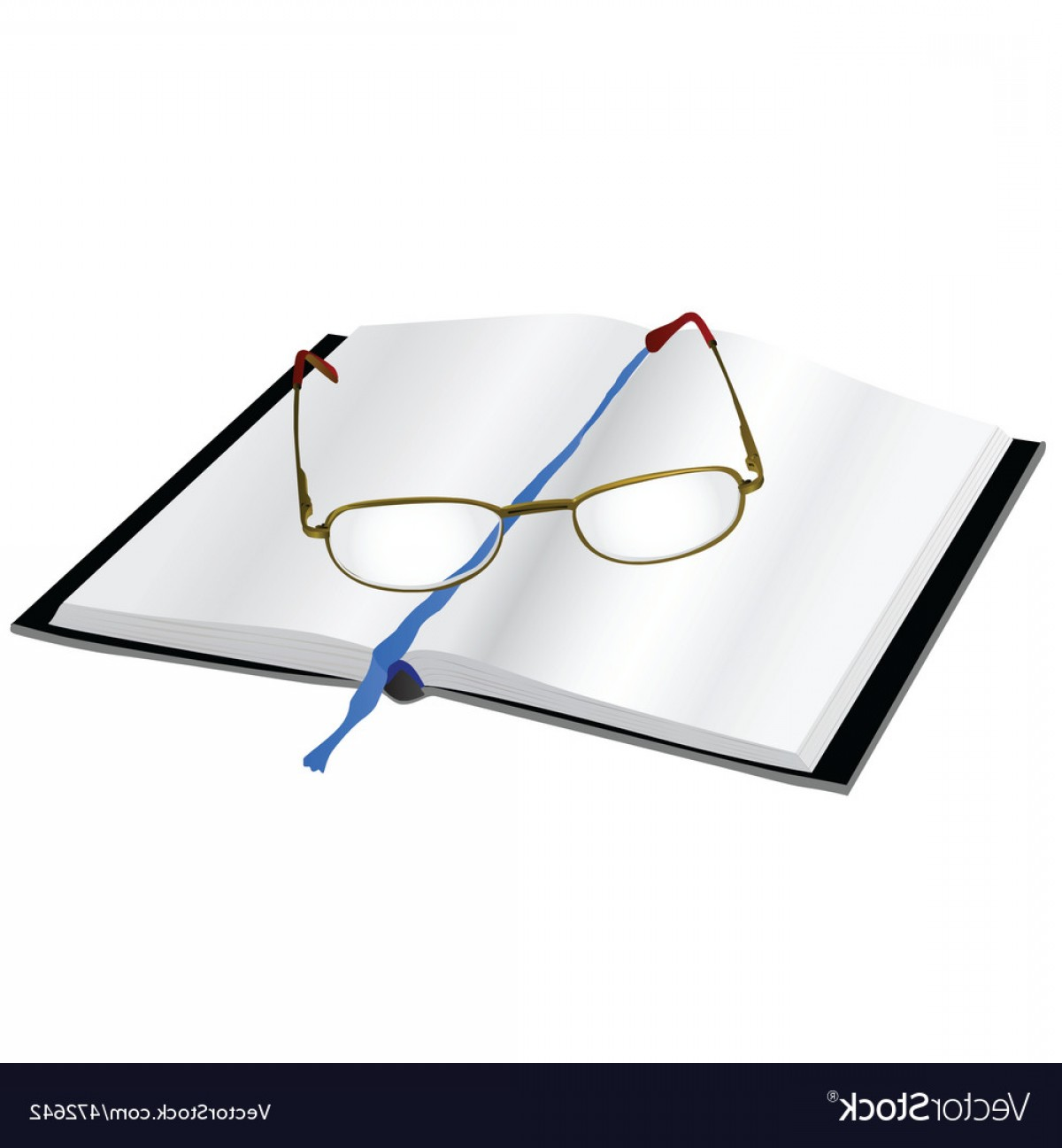 Reading Glasses For Men Vector: Reading Glasses On A Book Vector