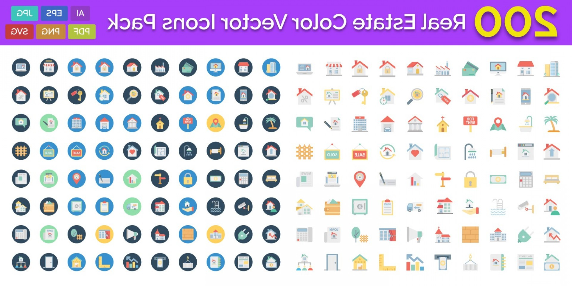 Tumblr App Icon Vector: Real Estate Color Vector Icons Pack