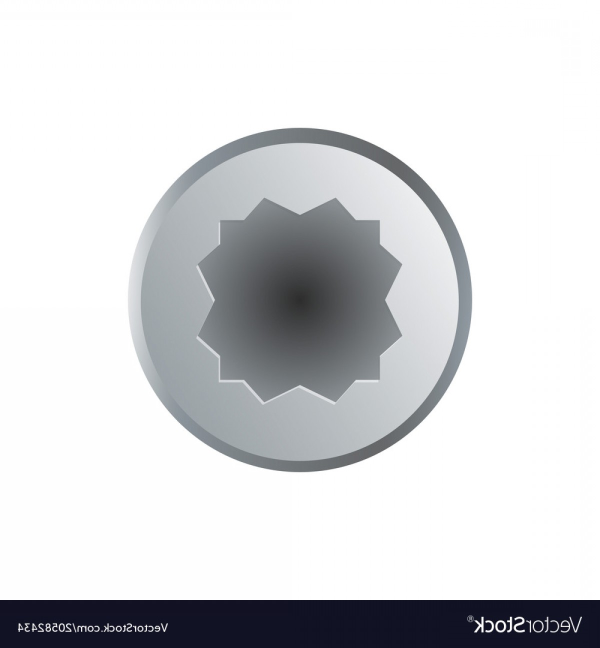 Bolt Head Vectors Gray: Realistic Allen Bolt Head Isolated On White Vector