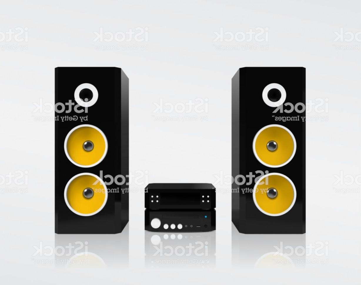 Speakers Vector Black: Realistic Black Acoustic Stereo System With Yellow Speakers Vector Illustration Gm
