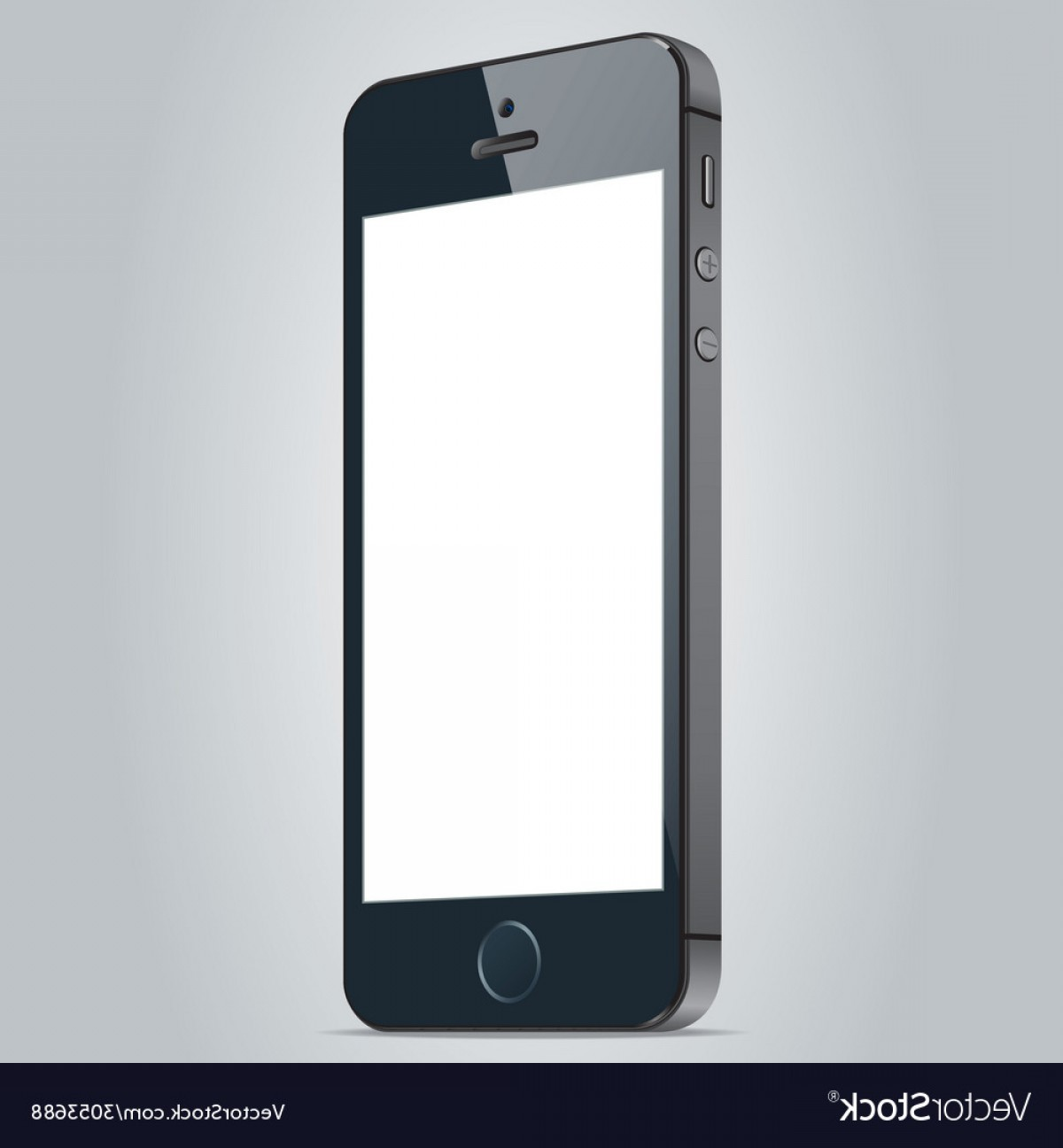 Apple IPhone Logo Vector: Realistic Black Apple Iphone S And Iphone Plus Vector