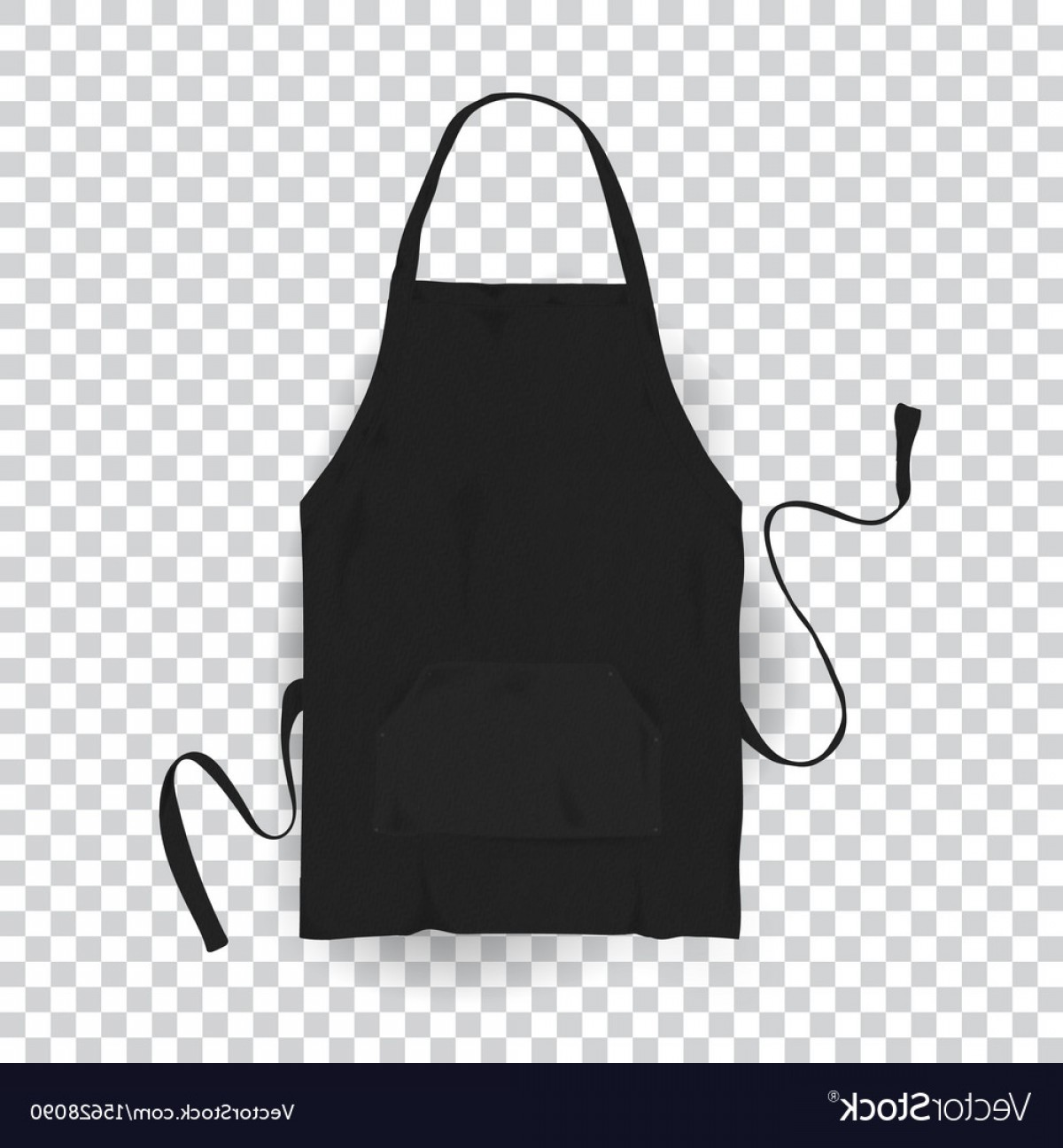 Apron Vector: Realistic Black Kitchen Apron Vector