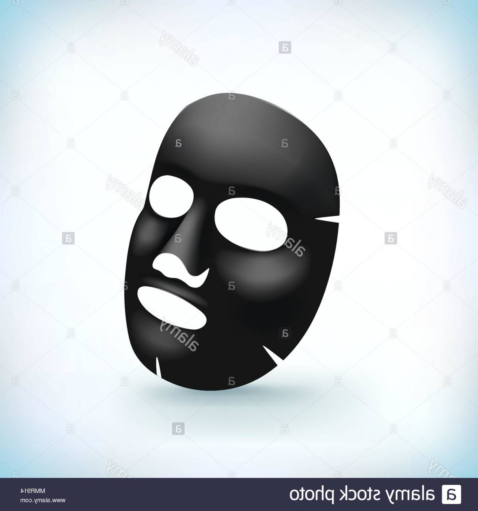 Black Beauty Vector Face: Realistic Black Mask On The Face Of Cosmetics Skin Care Beauty Youth Mud Treatment Template Illustration In Vector Image