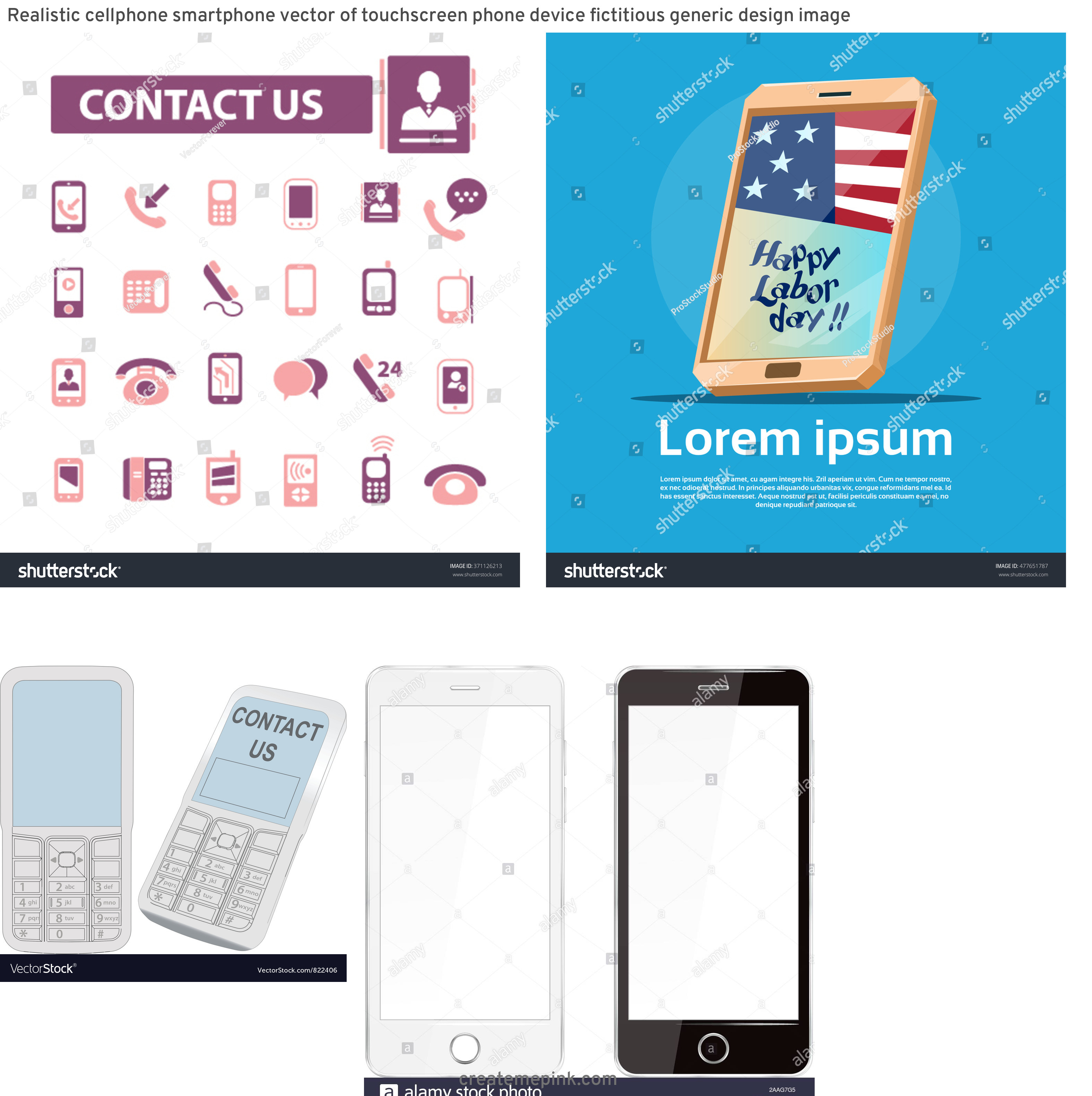 U.S. Cellular Phone Vector: Realistic Cellphone Smartphone Vector Of Touchscreen Phone Device Fictitious Generic Design Image