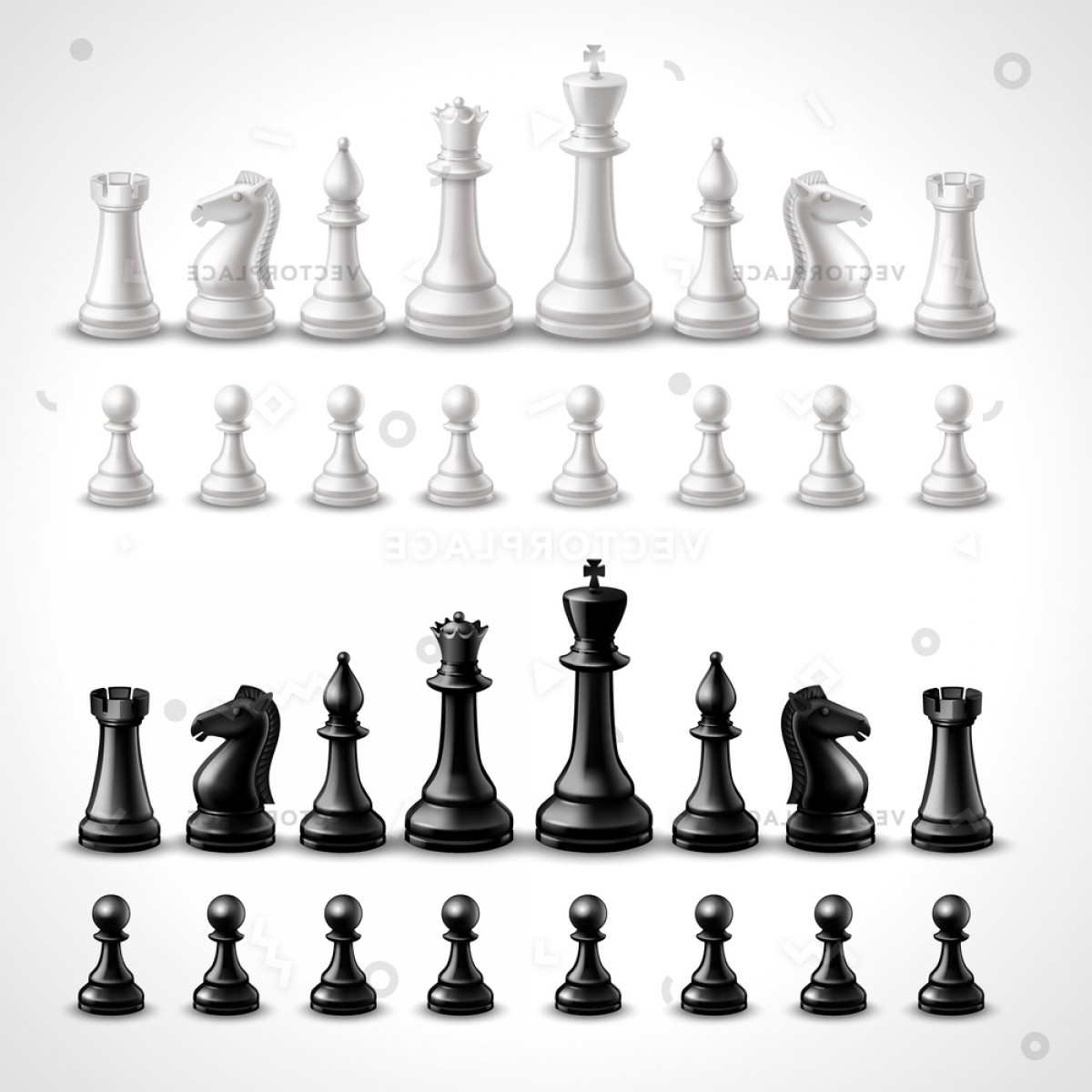 Vector Chess Board: Realistic Chess Game Black White Figures Vector Illustration