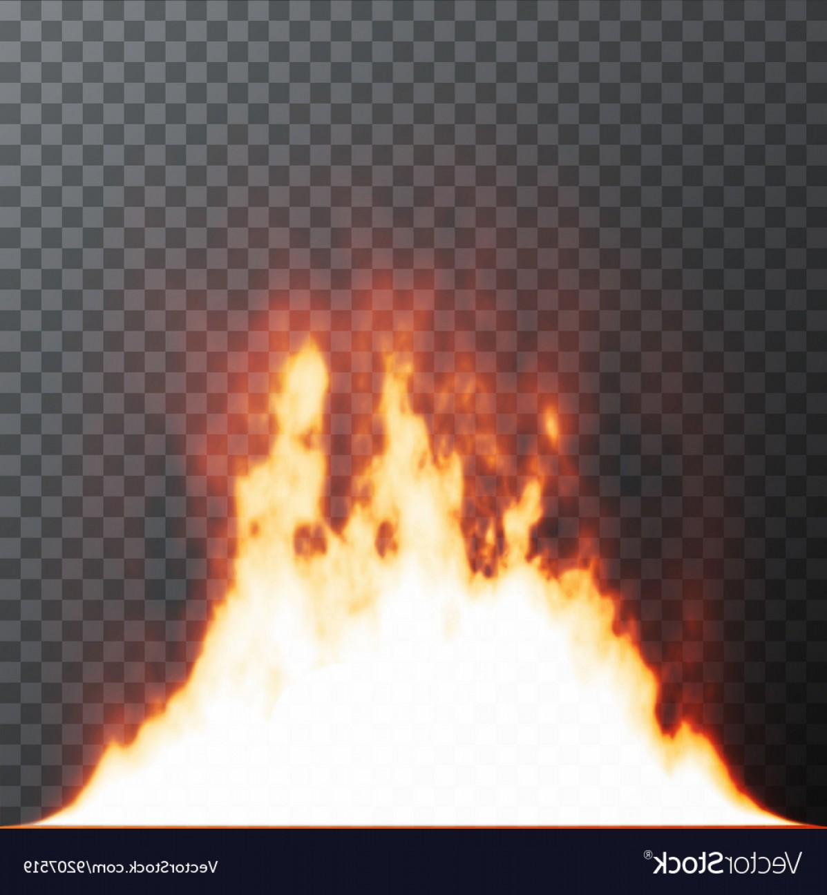 Vector Flame Stick Pattern: Realistic Fire Flames On Transparent Background Vector
