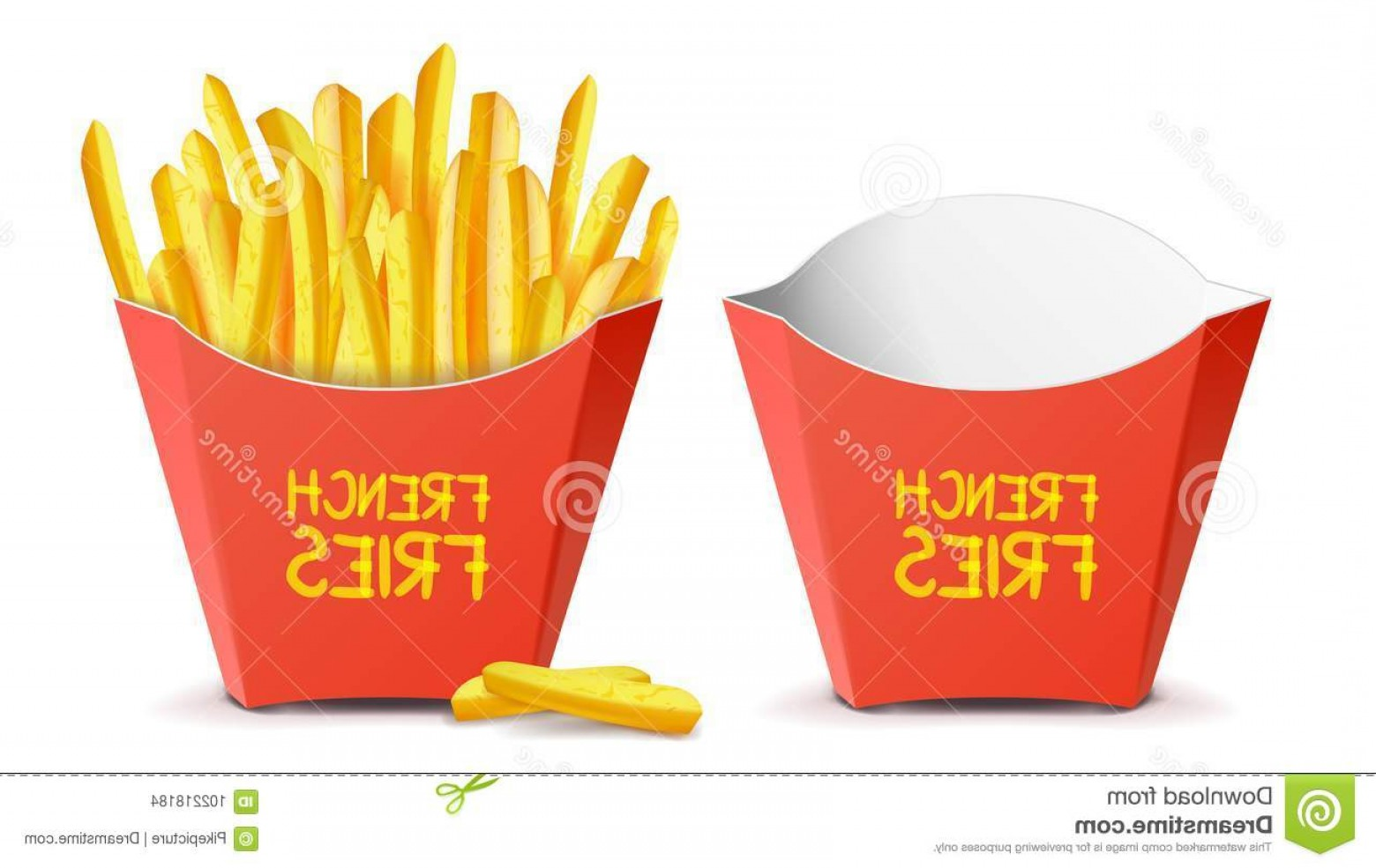 Fries Vector: Realistic French Fries Vector Red Paper Package Empty Full Isolated White Illustration Potatoes Tasty Fast Food Potato Image