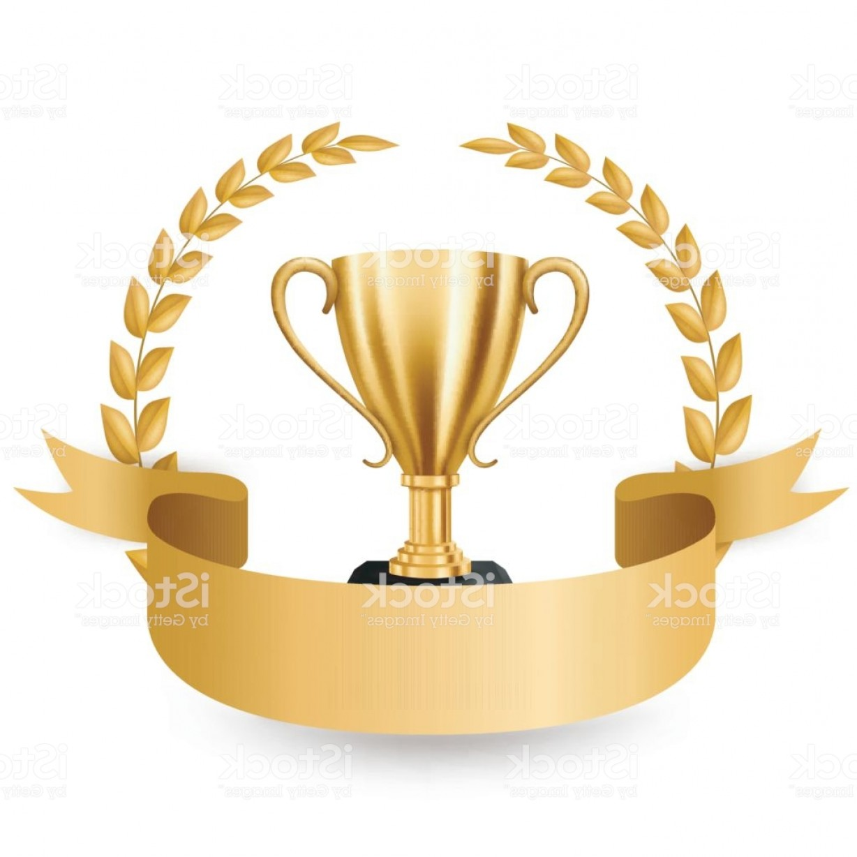 Gold Trophy Vector: Realistic Golden Trophy With Gold Laurel Wreath And Ribbon Vector Illustration Gm