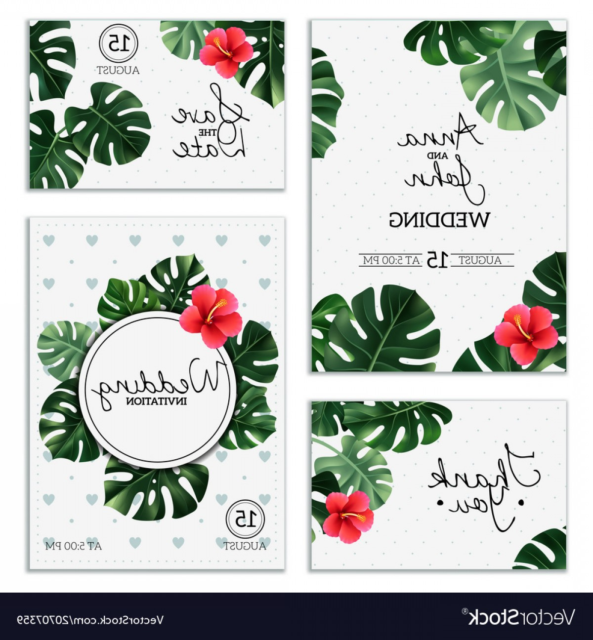 Plant Cards Vector: Realistic House Plant Wedding Cards Vector