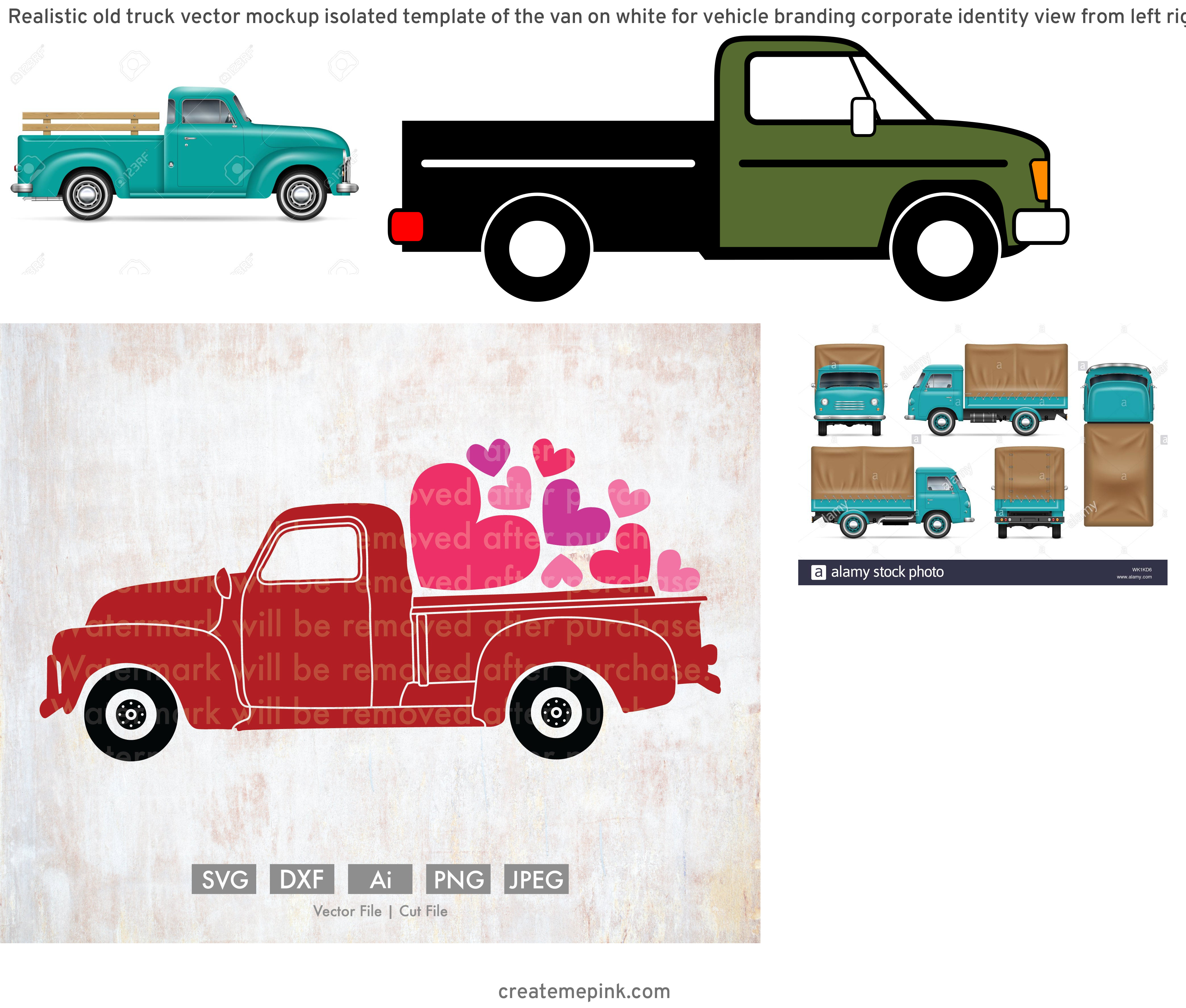 Old Truck Vector: Realistic Old Truck Vector Mockup Isolated Template Of The Van On White For Vehicle Branding Corporate Identity View From Left Right Front Back Image