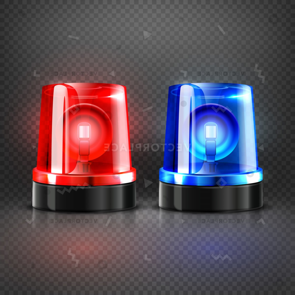 Vector Police Box: Realistic Police Ambulance Flashing Red Blue Vector Illustration