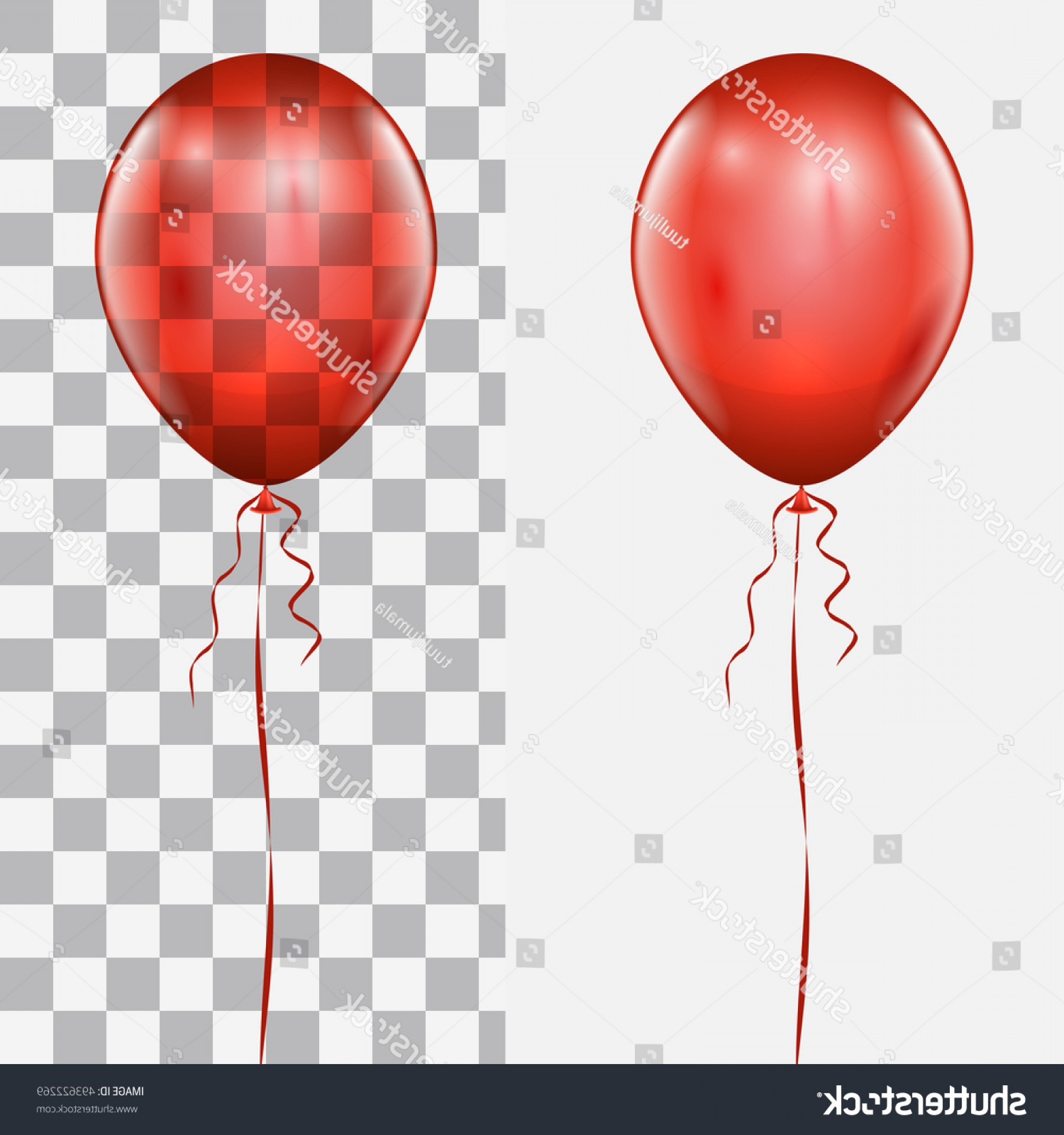 Checker Vector Template: Realistic Red Balloon Isolated On White