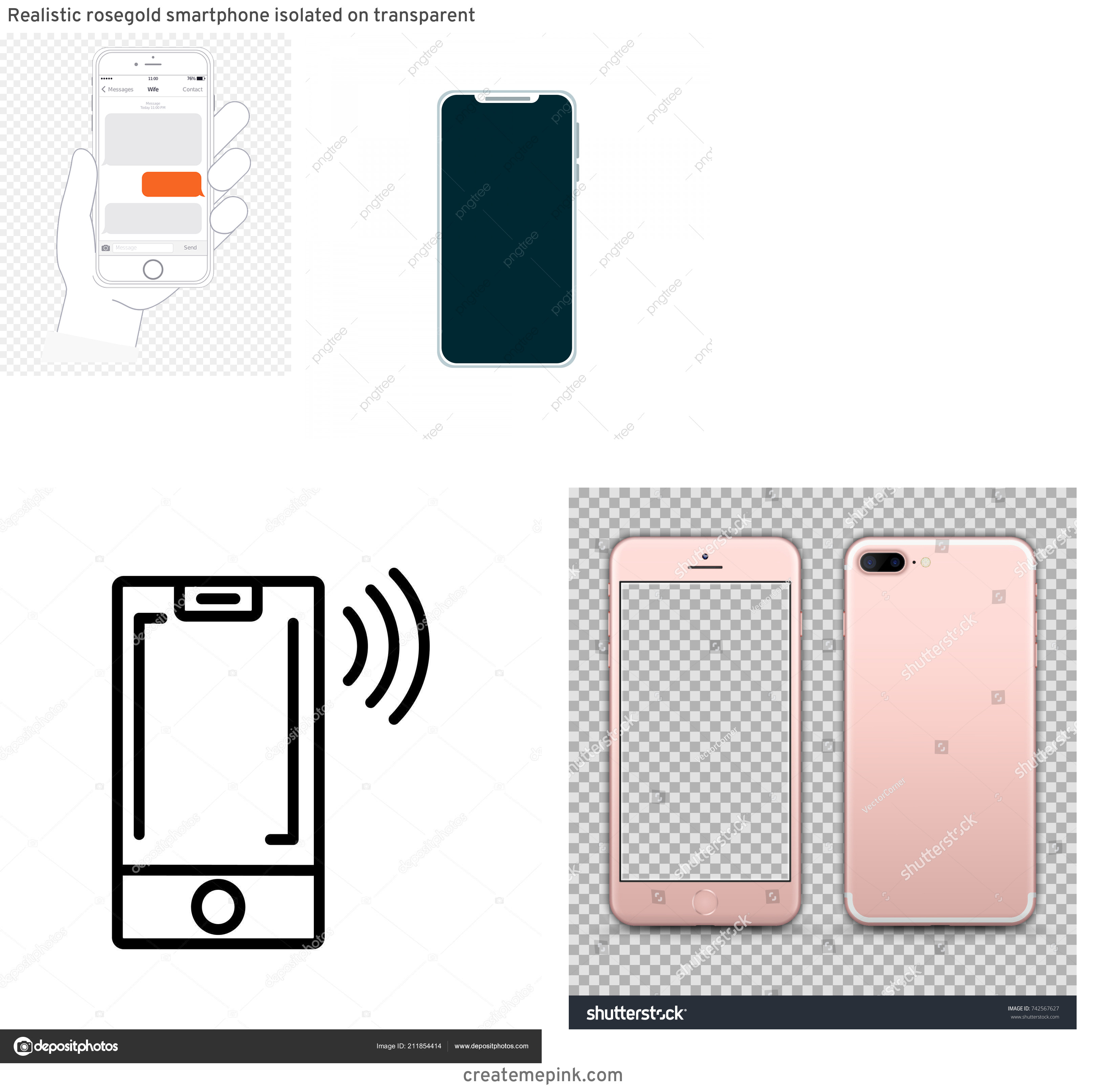 IPhone Vector Transparent Background: Realistic Rosegold Smartphone Isolated On Transparent