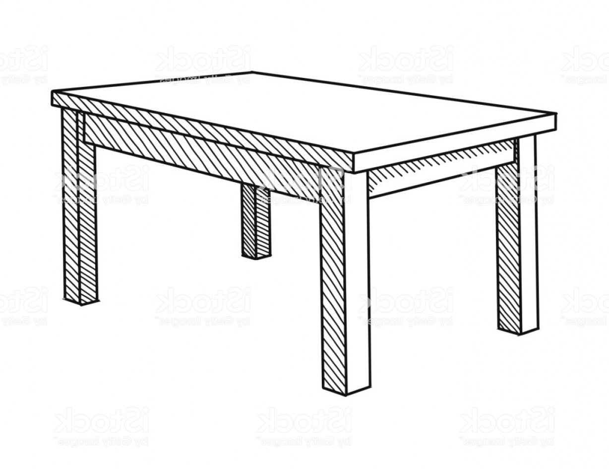 Perspective Vector: Realistic Sketch Of The Table In Perspective Vector Illustration Gm