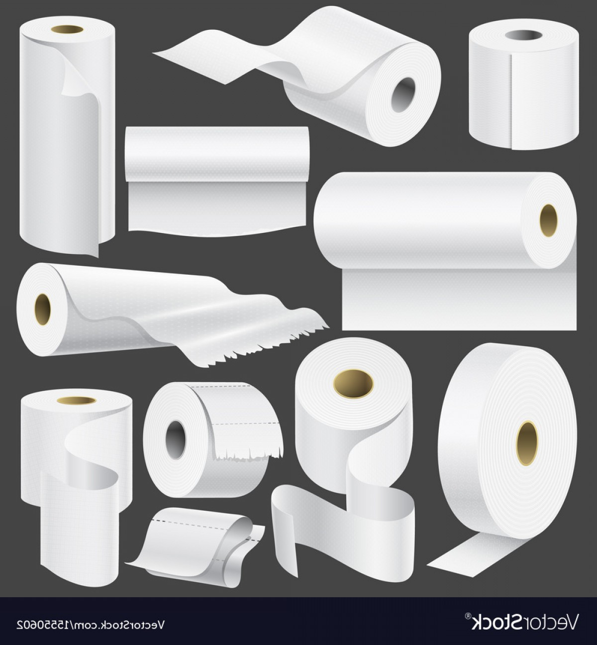 Toilet Paper Vector: Realistic Toilet Paper Roll And Kitchen Towel Vector