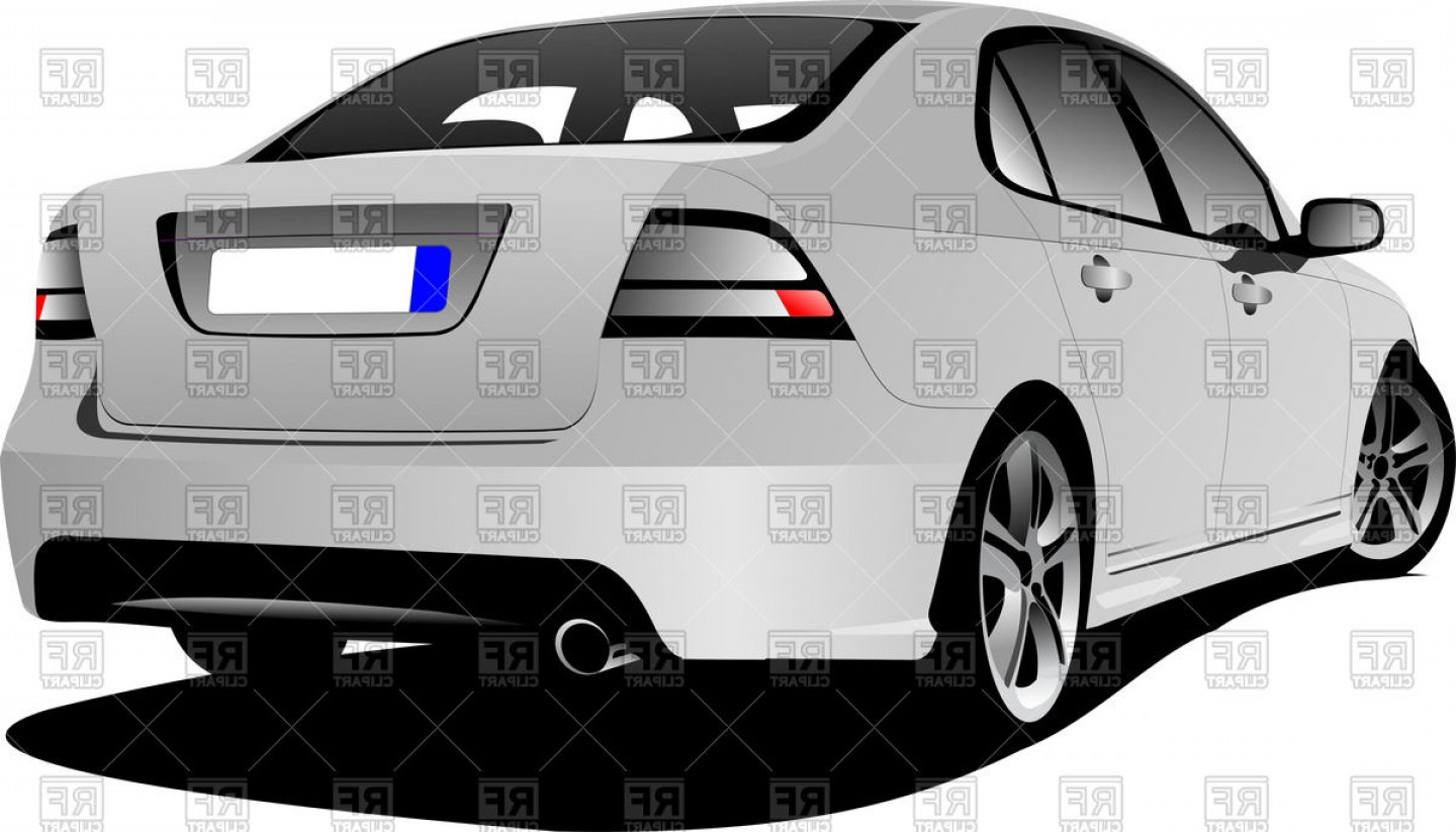 Saab 9 3 Vector Clip Art: Rear View Of White Sedan Cars Back Vector Clipart