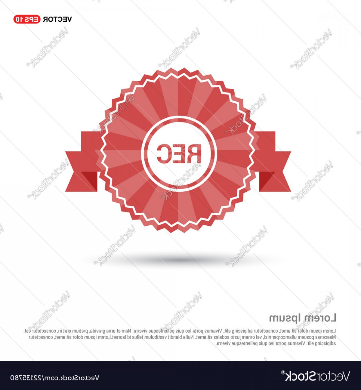 Ribbion Banner Vector: Recording Icon Red Ribbon Banner Vector