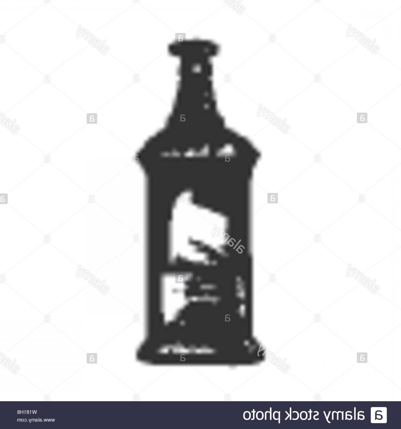 Booze Bottle Vector: Rectangular Vintage Whisky Booze Bottle Vector Image