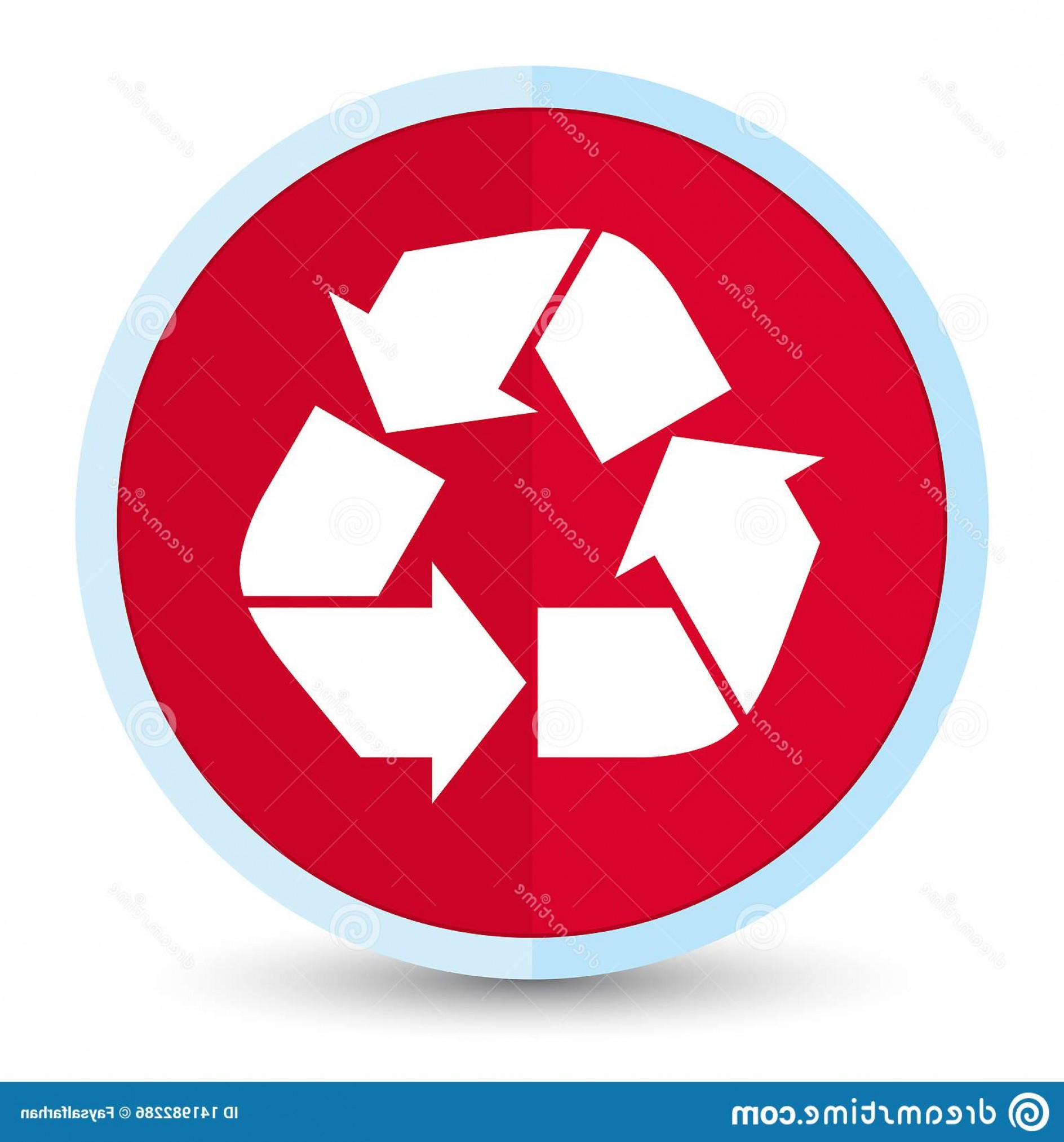 Recycle Icon Vector Red: Recycle Icon Flat Prime Red Round Button Isolated Abstract Illustration Image