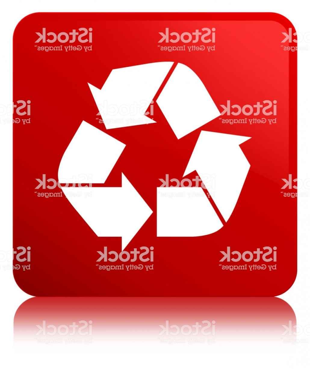 Recycle Icon Vector Red: Recycle Icon Red Square Button Gm