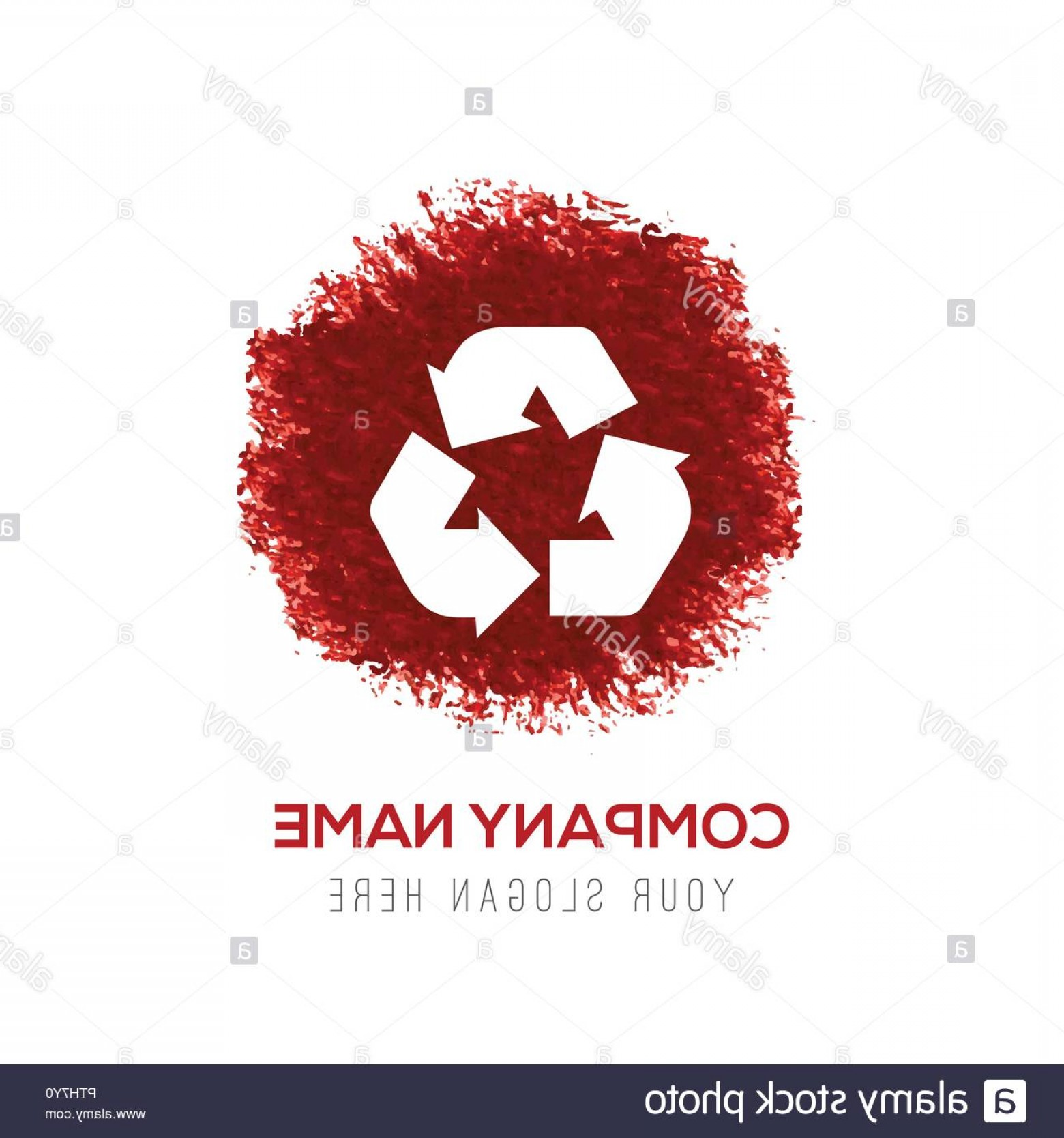 Recycle Icon Vector Red: Recycle Icon Red Watercolor Circle Splash Image