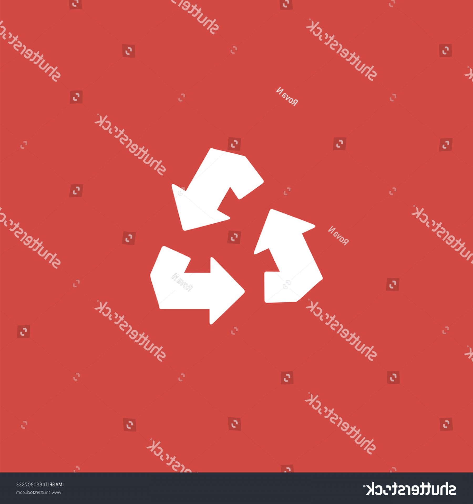 Recycle Icon Vector Red: Recycle Icon Sign Design Red Background