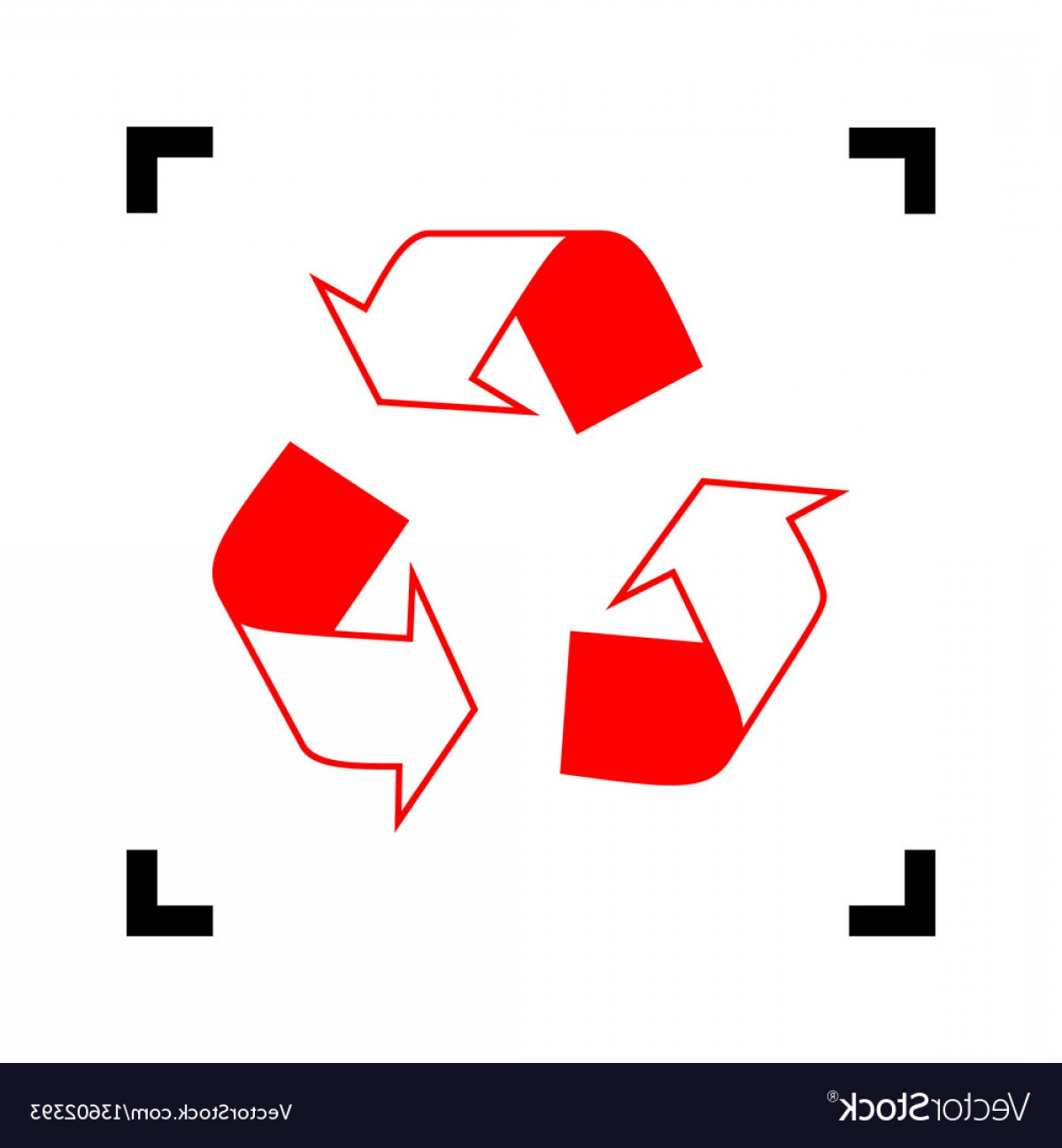 Recycle Icon Vector Red: Recycle Logo Concept Red Icon Inside Vector