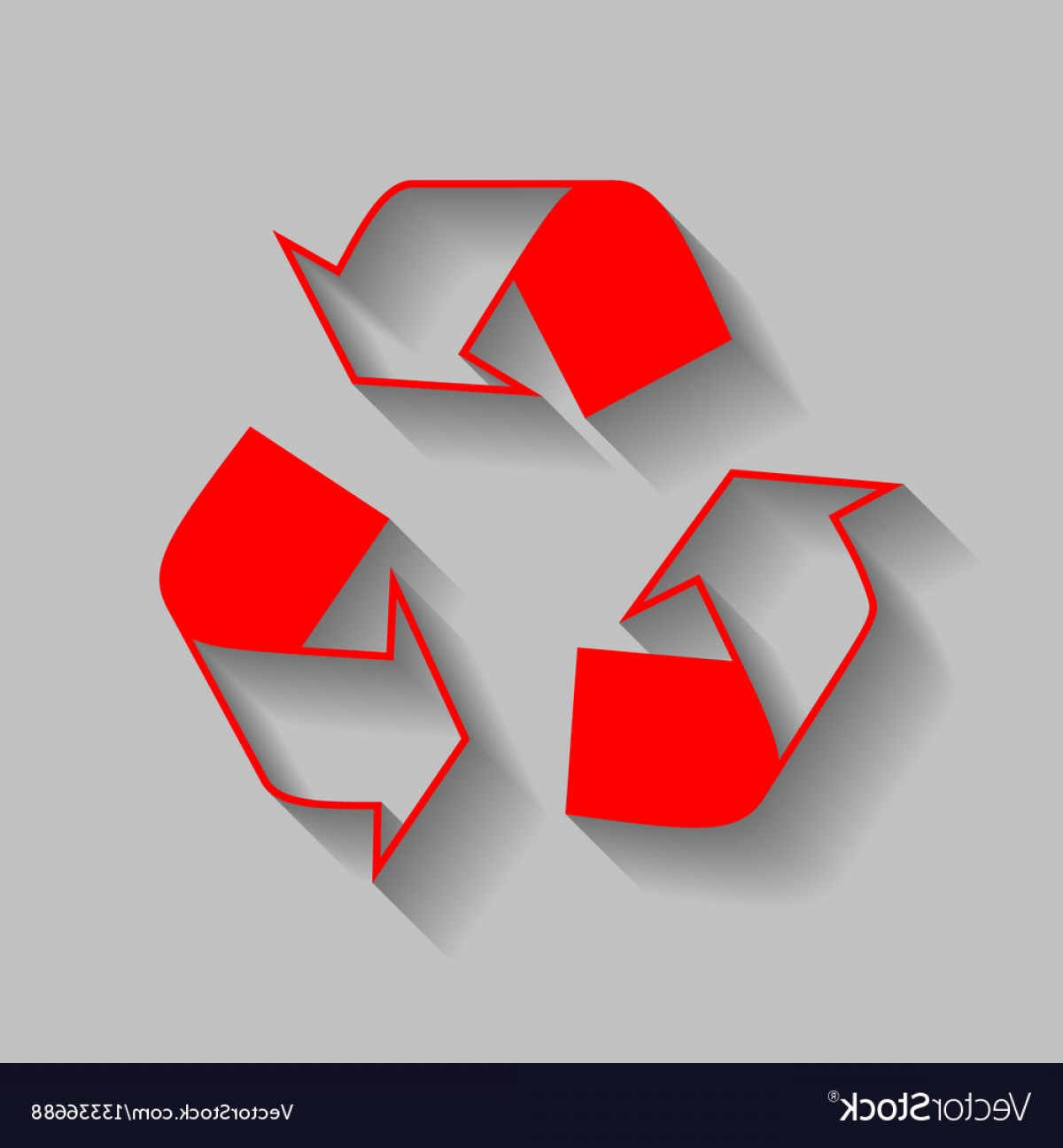 Recycle Icon Vector Red: Recycle Logo Concept Red Icon With Soft Vector