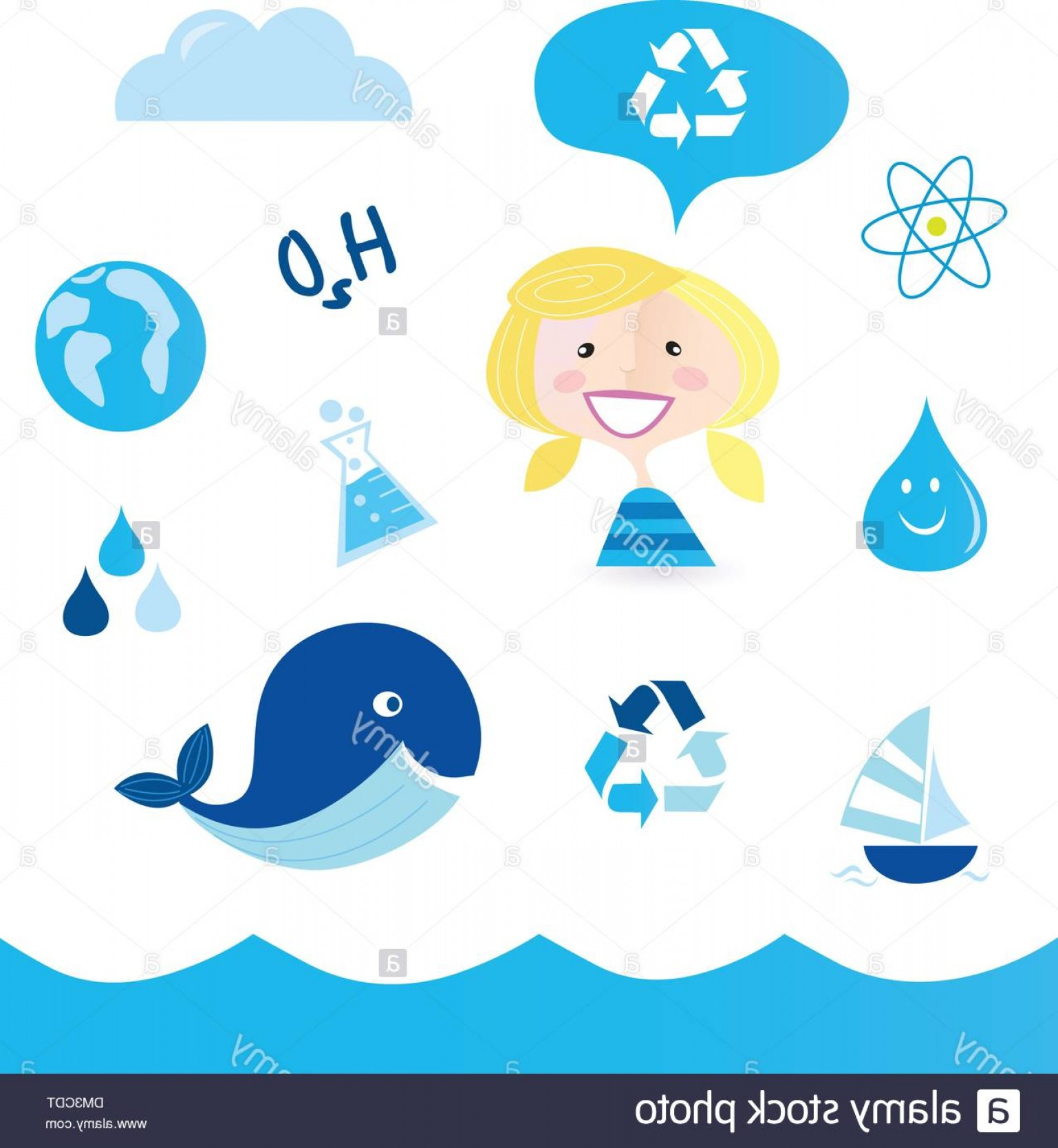 Ocean Water Clip Art Vector: Recycle Water School Nautical Ocean Water And Nature Icons Image
