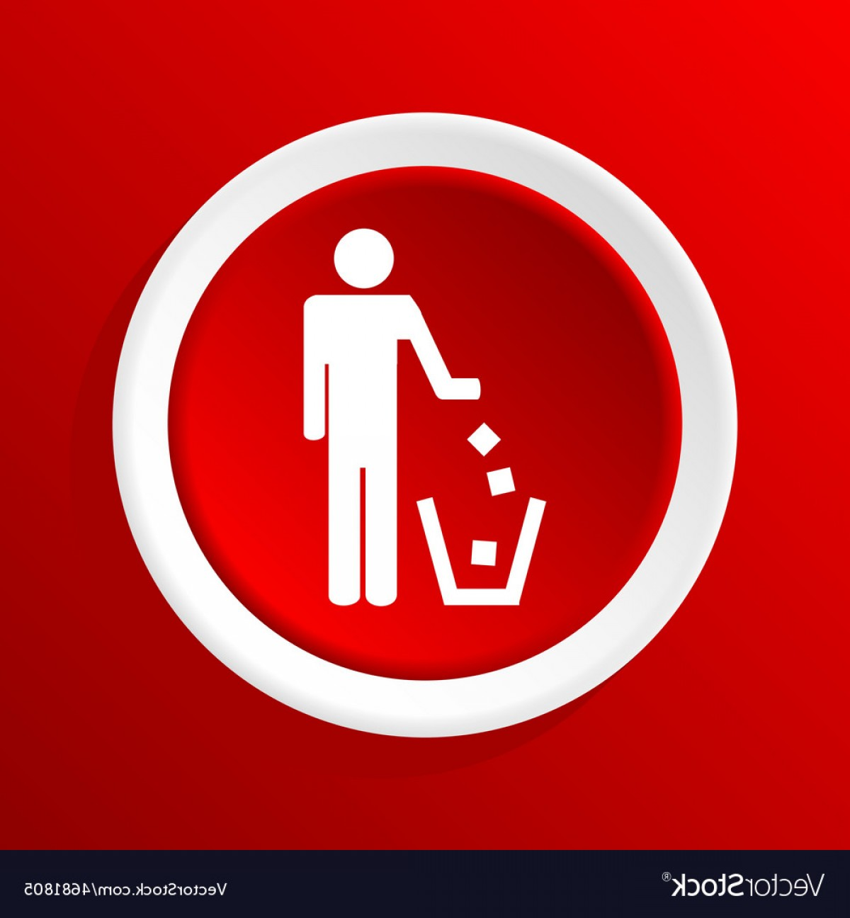 Recycle Icon Vector Red: Recycling Icon On Red Vector