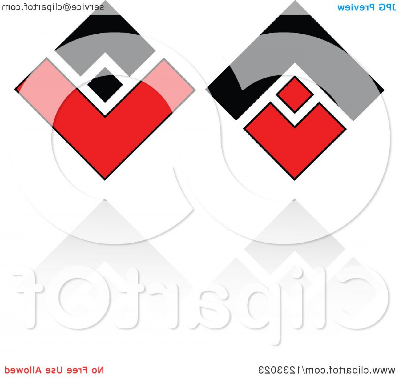 Black Diamond Vector Clip Art: Red And Black Diamond Logo And Reflection