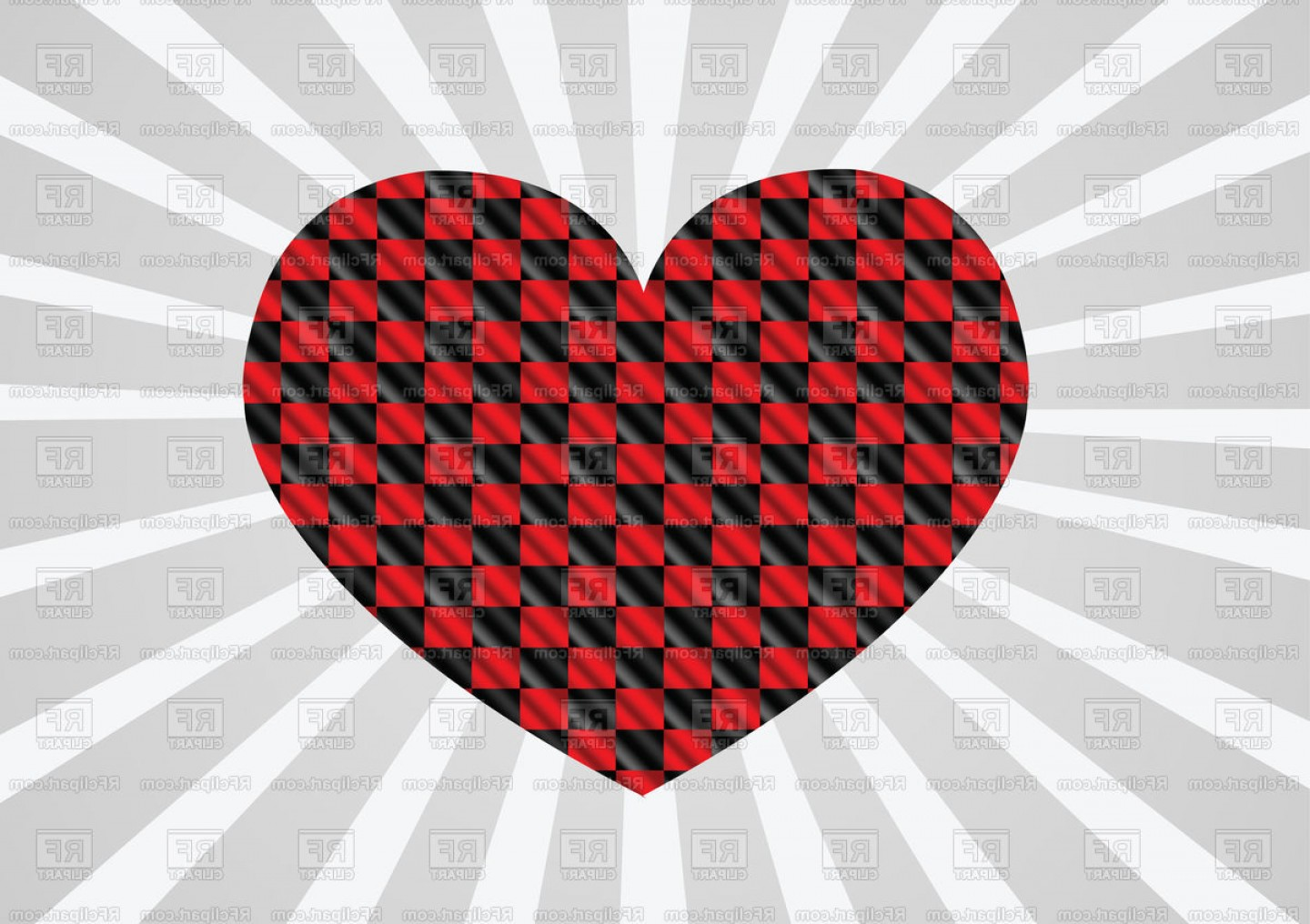 Vector Checkered Flag Heart: Red And Black Racing Flag In Shape Of Heart Vector Clipart