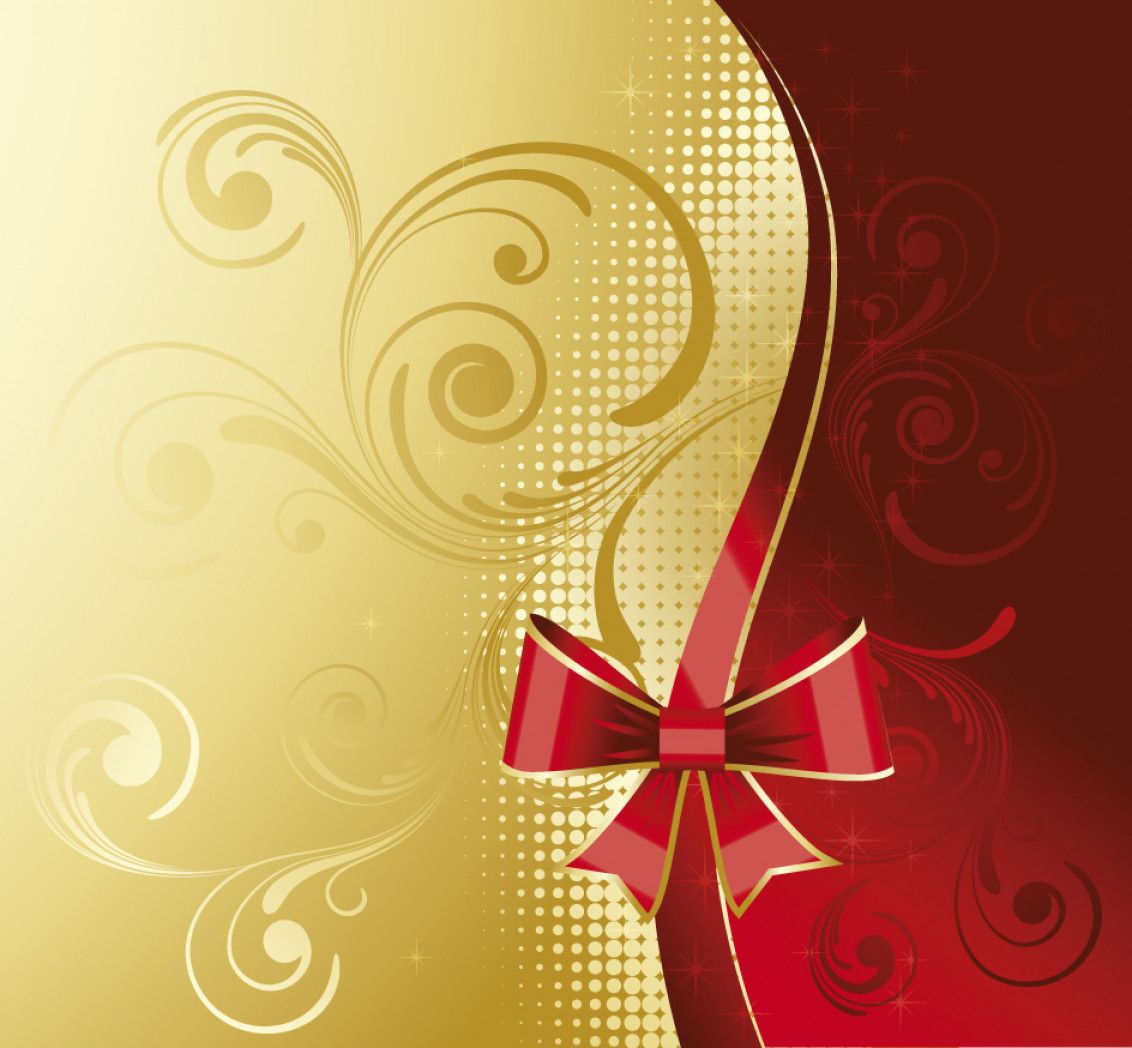 Free Vector Backgrounds Illustrator Free Download: Red And Golden Floral Background Vector