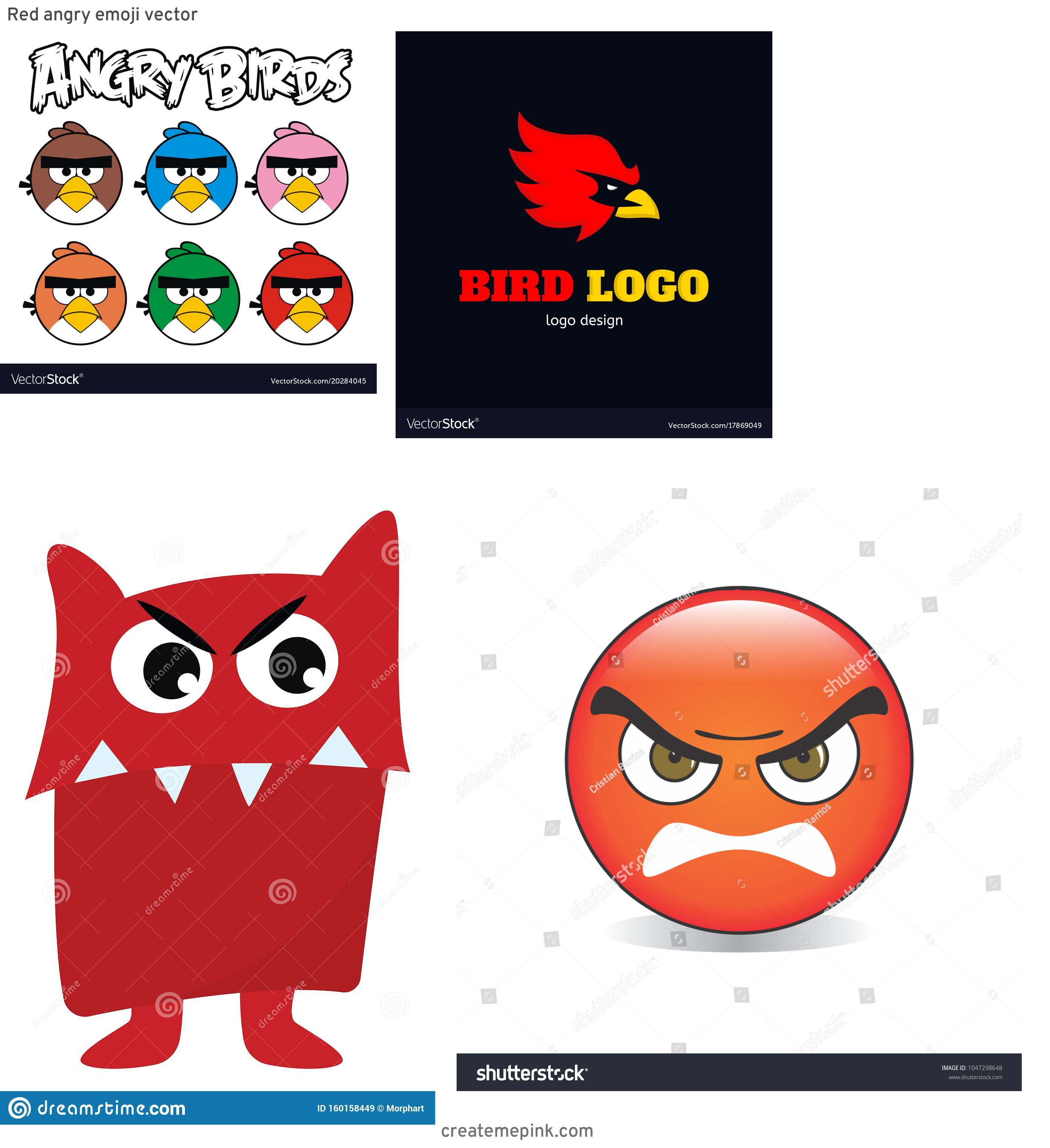 Red Angry Birds Vector: Red Angry Emoji Vector