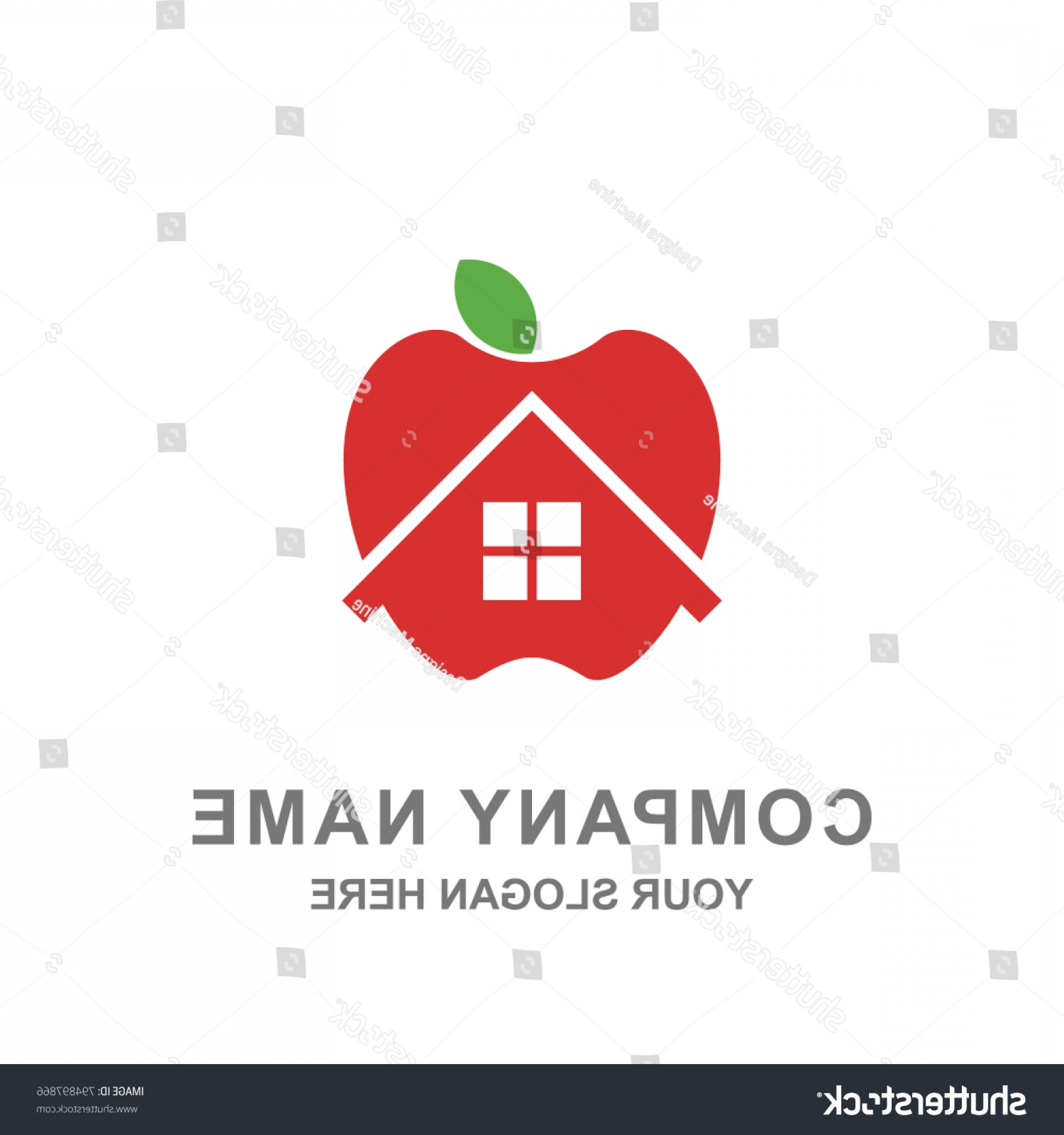 Red Apple Vector Logo: Red Apple House Farm Building Logo