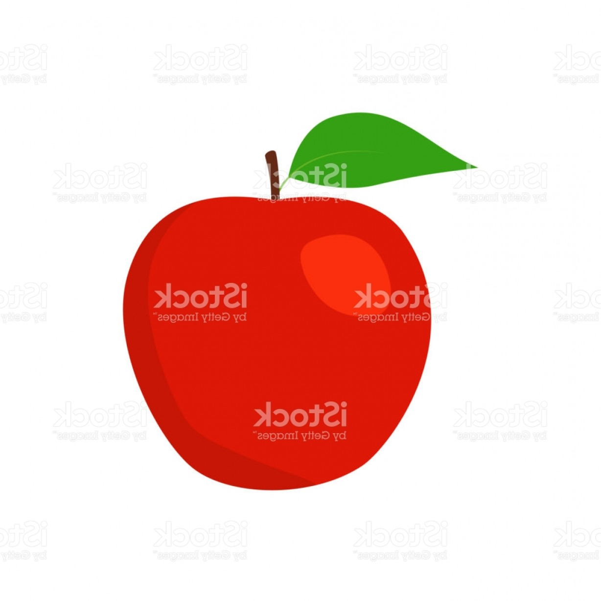 Red Apple Vector Logo: Red Apple Vector Illustration Flat Design Style Gm