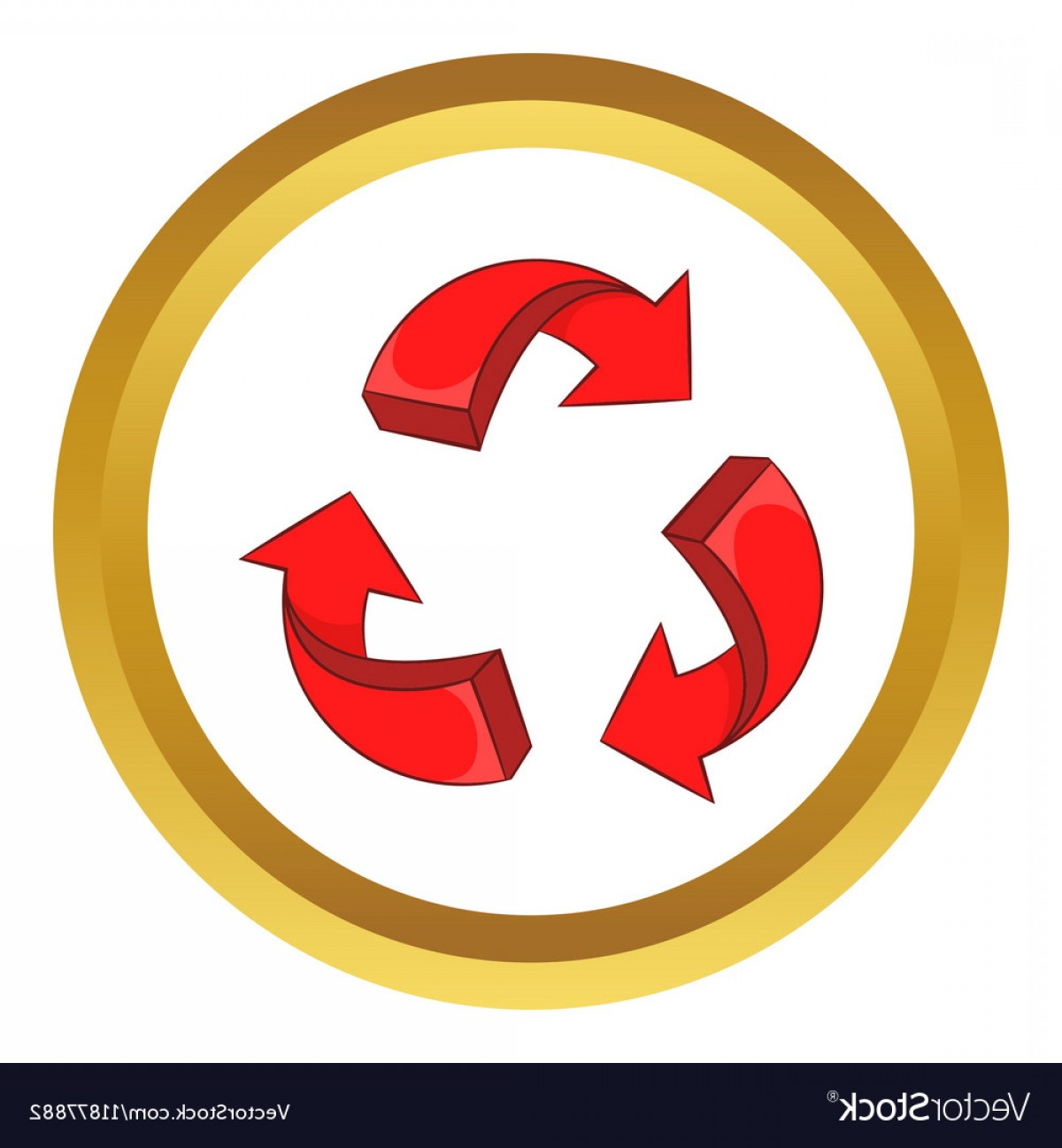 Recycle Icon Vector Red: Red Arrow Recycling Icon Vector