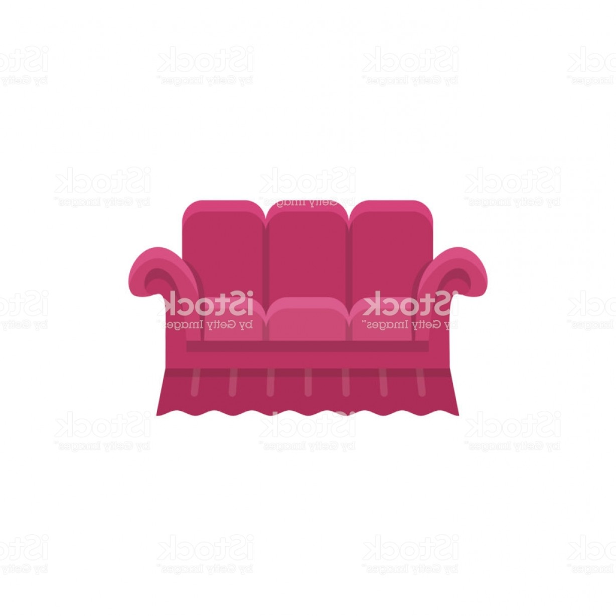 Back Of The Couch Vector: Red Bridgewater Sofa Vector Illustration Flat Icon Of Settee Front View Gm