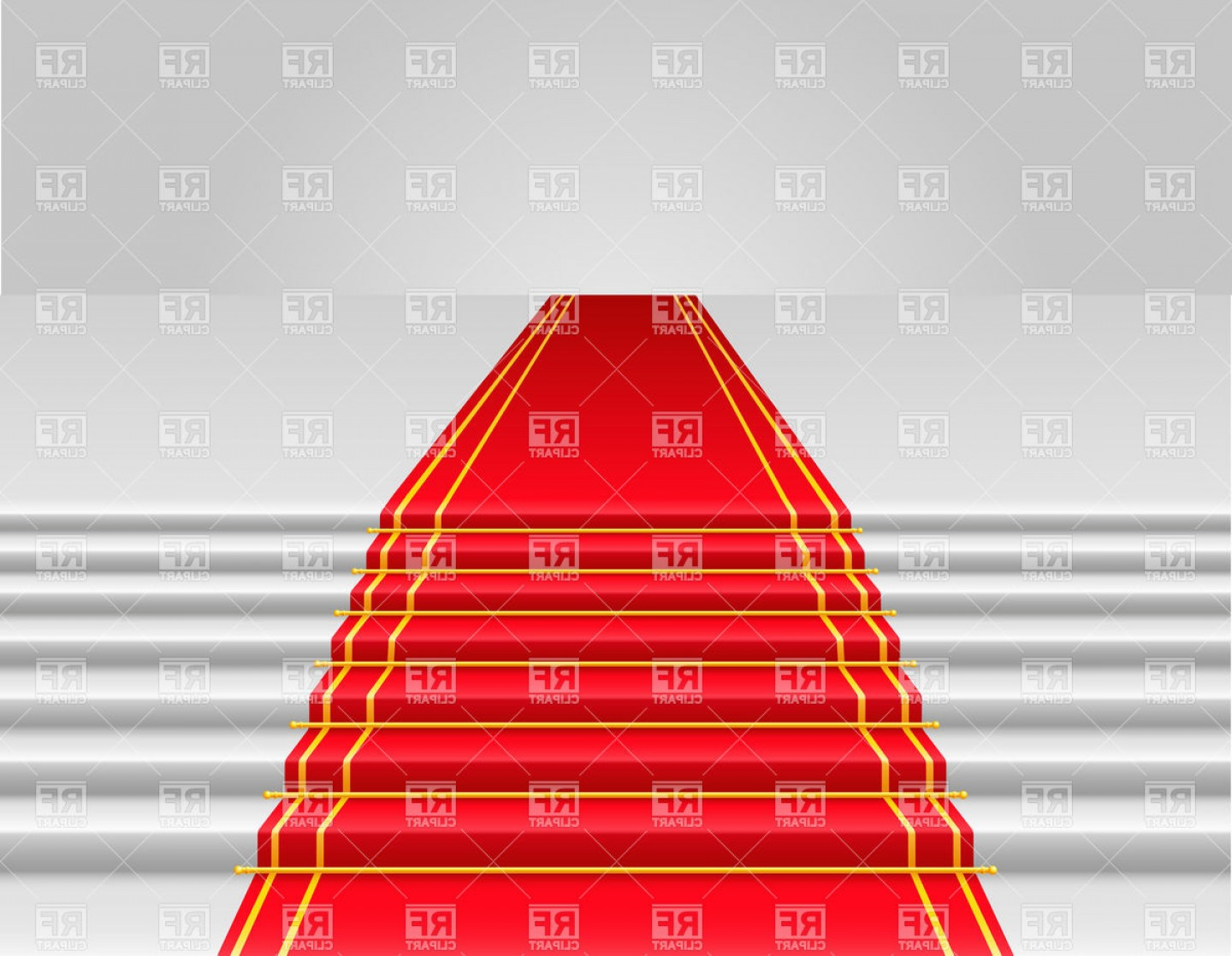 Carpet Vector 2D: Red Carpet On Stairs Vector Clipart