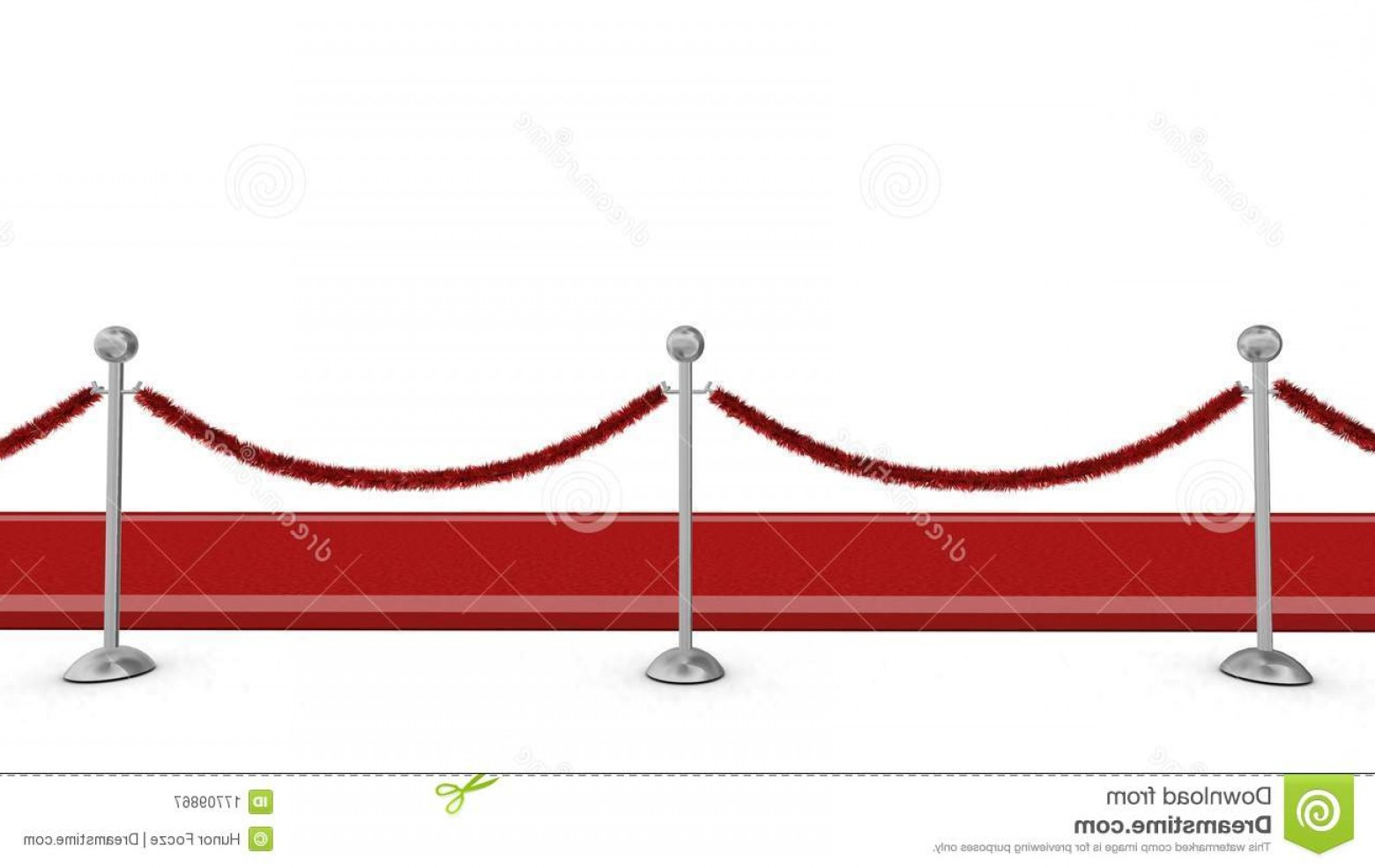 Carpet Vector 2D: Red Carpet With Rope Barrier Stock Photo
