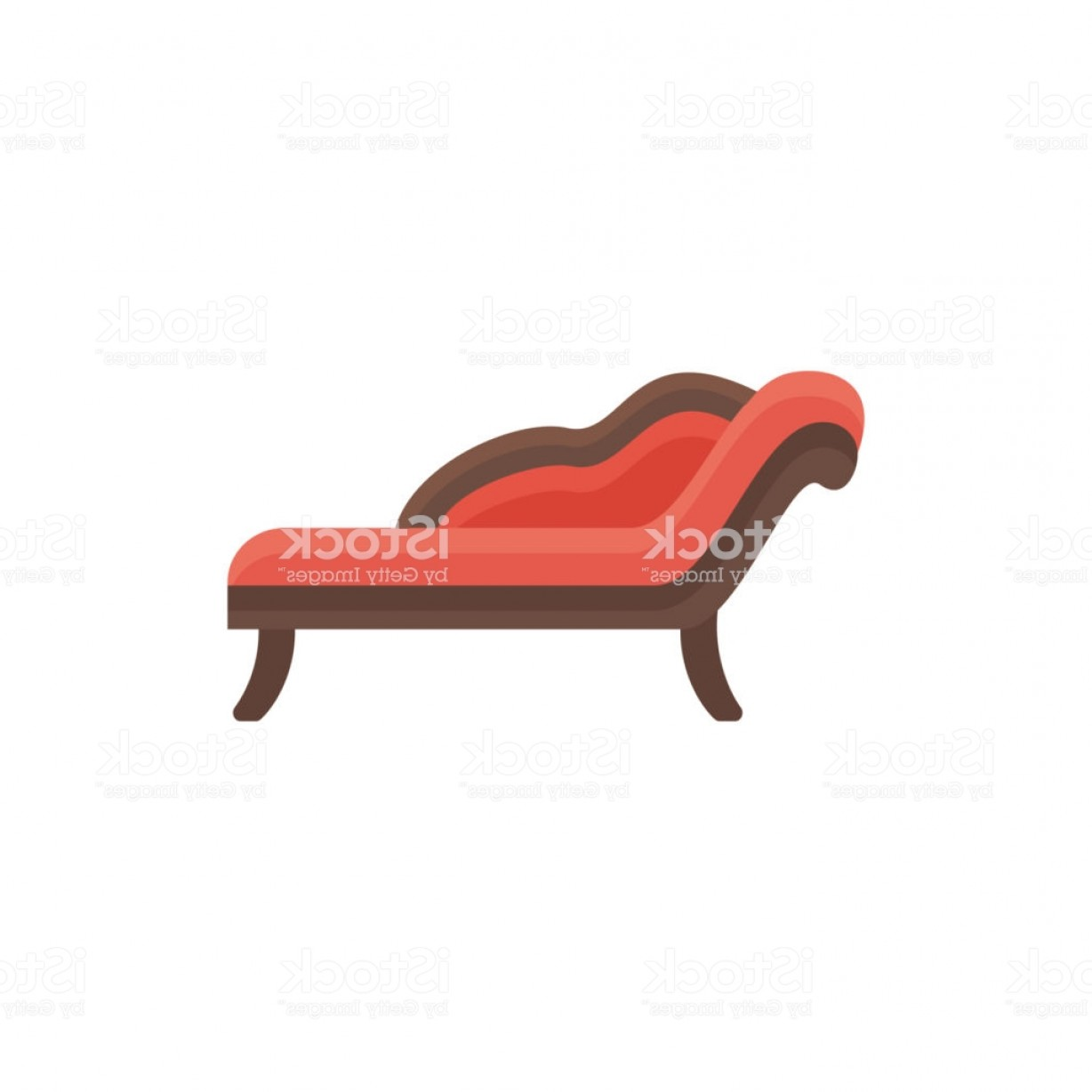 Back Of The Couch Vector: Red Chaise Lounge Sofa Vector Illustration Flat Icon Of Settee Element Of Modern Gm