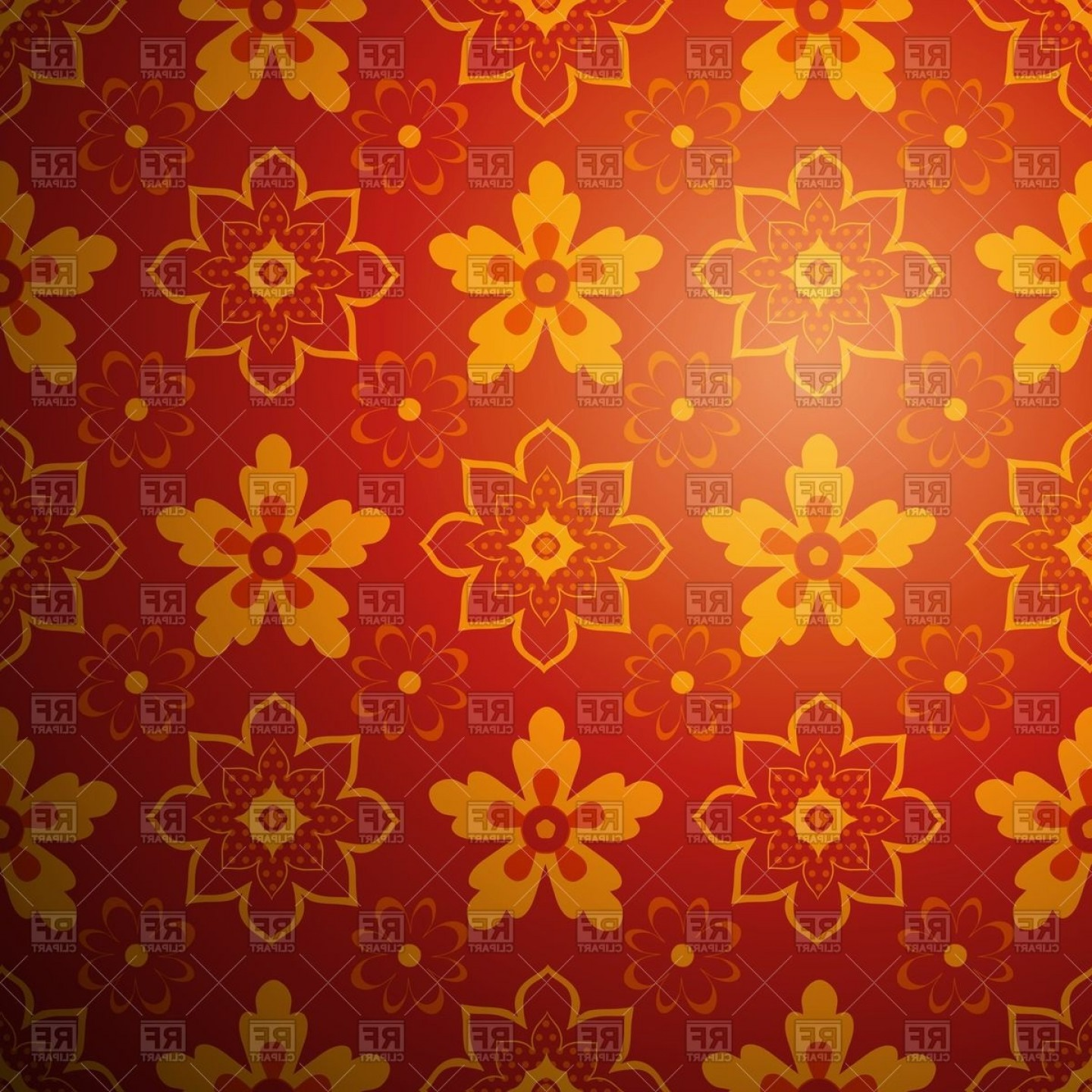 Carpet Vector 2D: Red Chinese Rug Background Oriental Red And Yellow Floral Ornament Vector Clipart