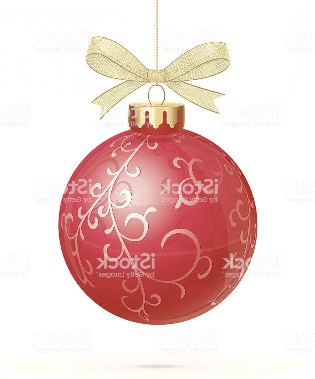 3 Glass Christmas Bulb Vector: Red Christmas Bauble With Golden Organza Ribbon Gm