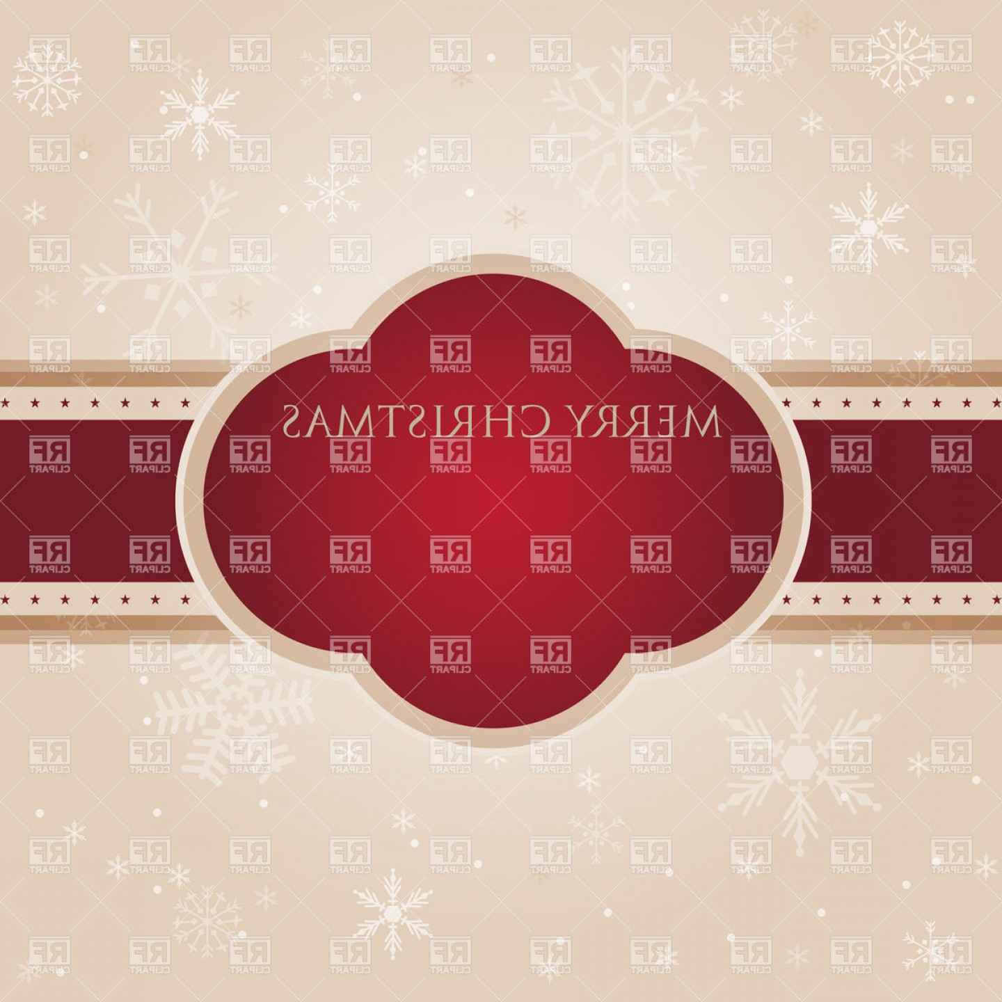 Snowflake Border Vector Art: Red Christmas Frame On Snowflake Backdrop Vector Clipart