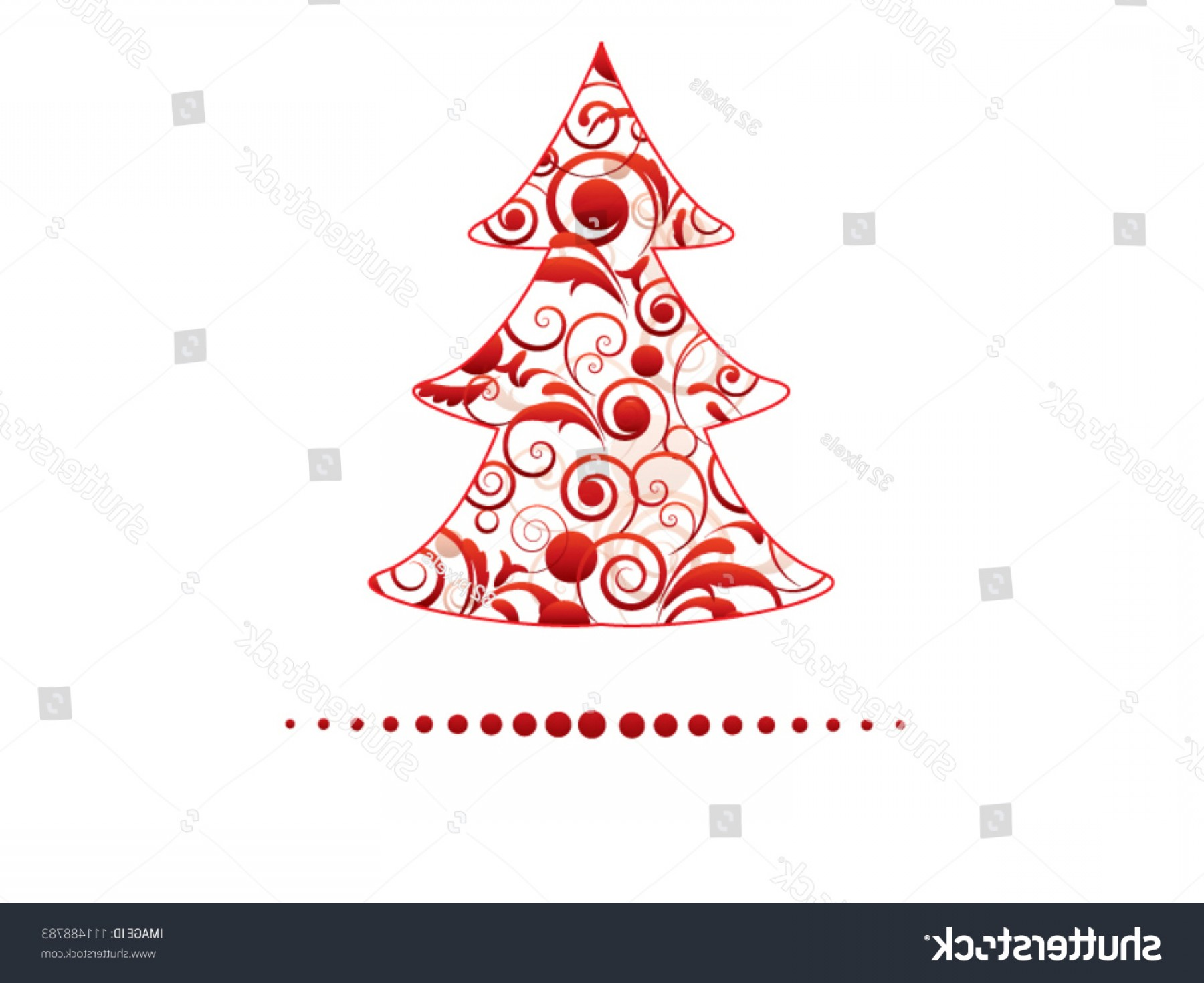 Swirly Christmas Tree Vector: Red Christmas Swirly Tree Floral Elements