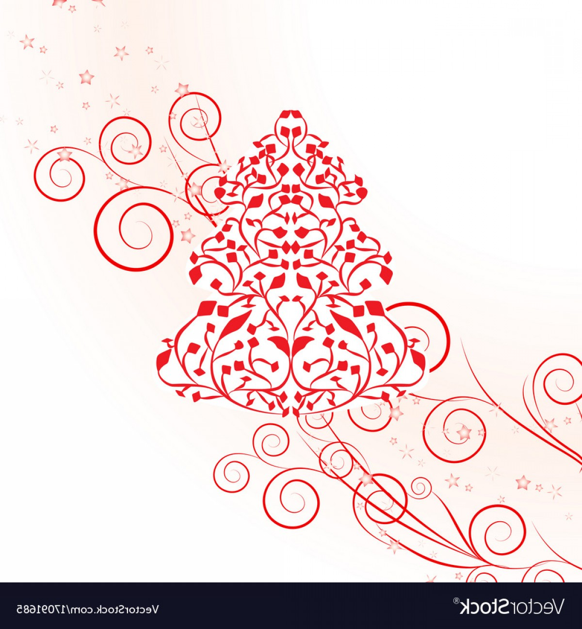 Swirly Christmas Tree Vector: Red Christmas Template With Swirly Tree Vector