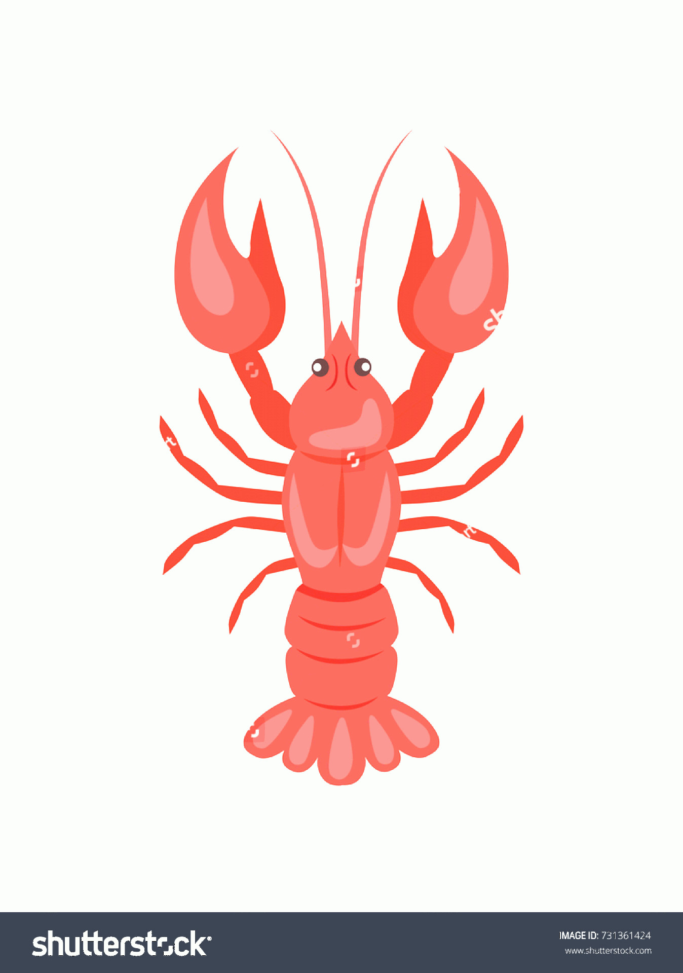 Crawfish Vector: Red Crayfish Vector Illustration Isolated On