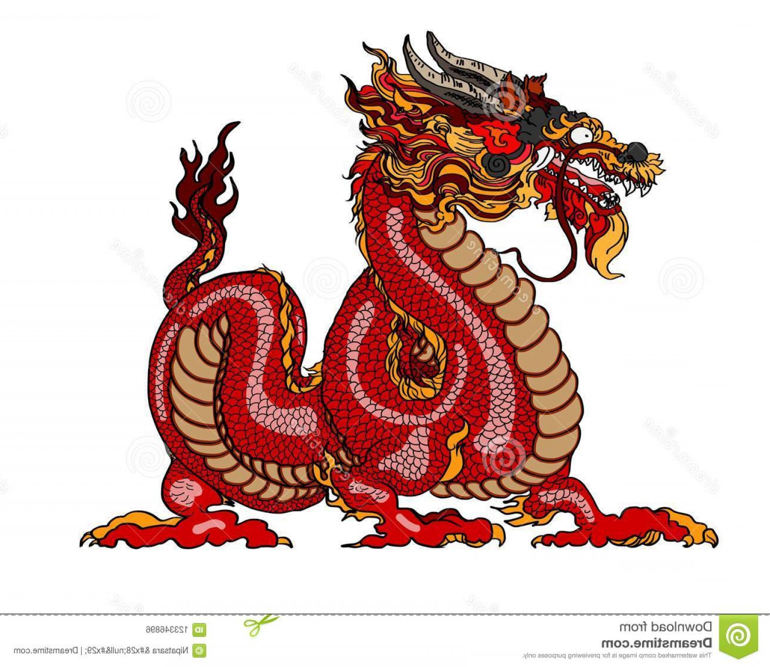 Oriental Dragon Vector: Red Dragon Magical Creatures Known Chinese Western Literature Dragon Animal Tattoo Design Chinese Dragon Vector Hand Image
