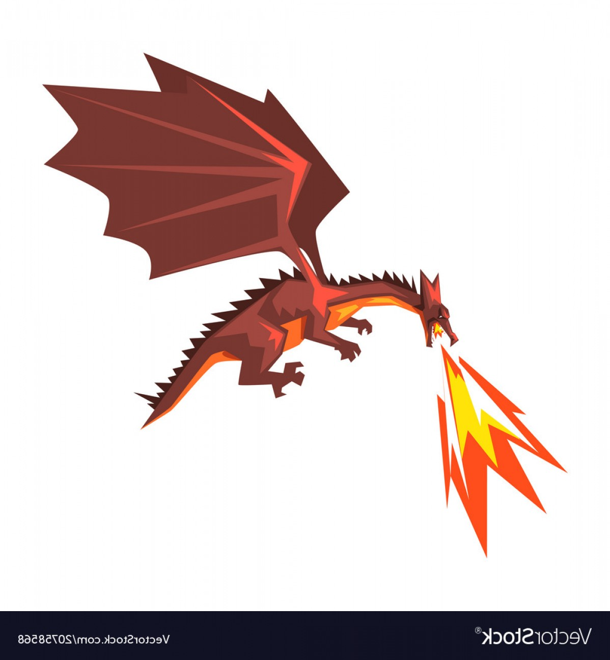 Dragon Fire Vector: Red Dragon Spitting Fire Mythical Fire Breathing Vector