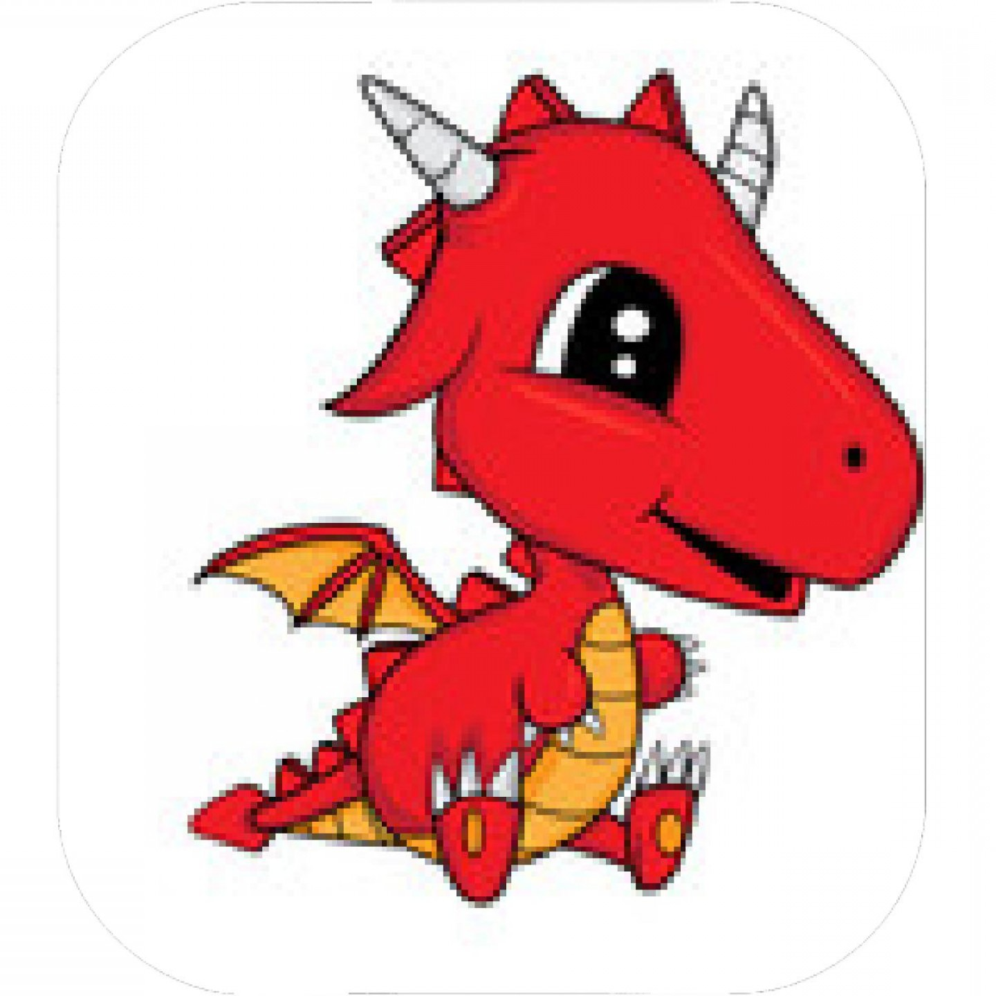 Baby Dragon Silhouette Vector: Red Dragon With Purple Wings
